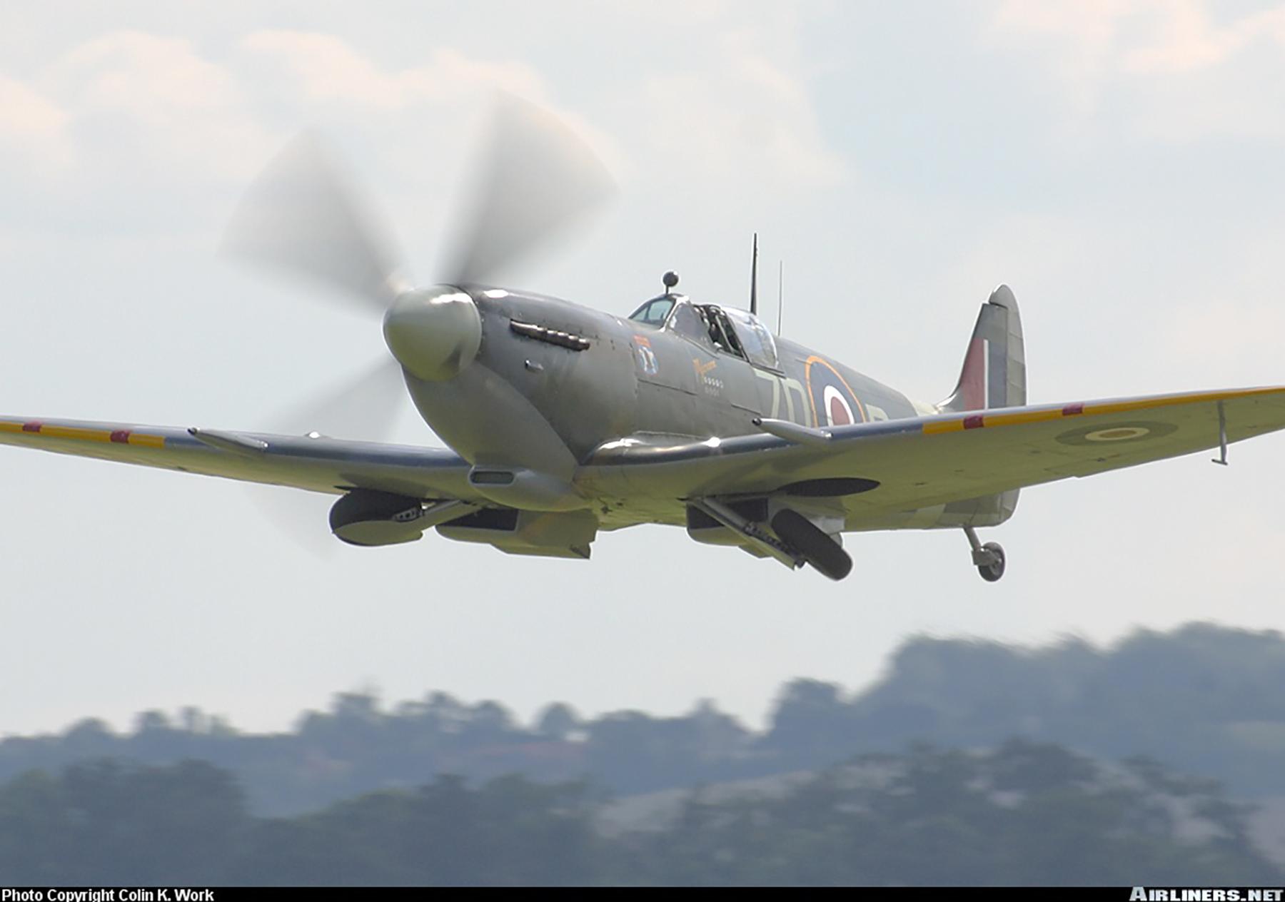 Airworthy Spitfire warbird RAF 222Sqn ZDB MH434 England 09