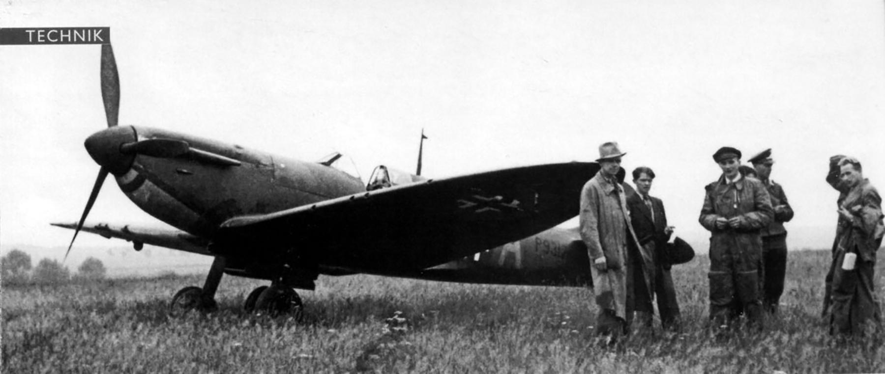 Spitfire MkIa RAF 222Sqn ZDA P9317 force landed Dunkerque 1st Jun 1940 and captured 01