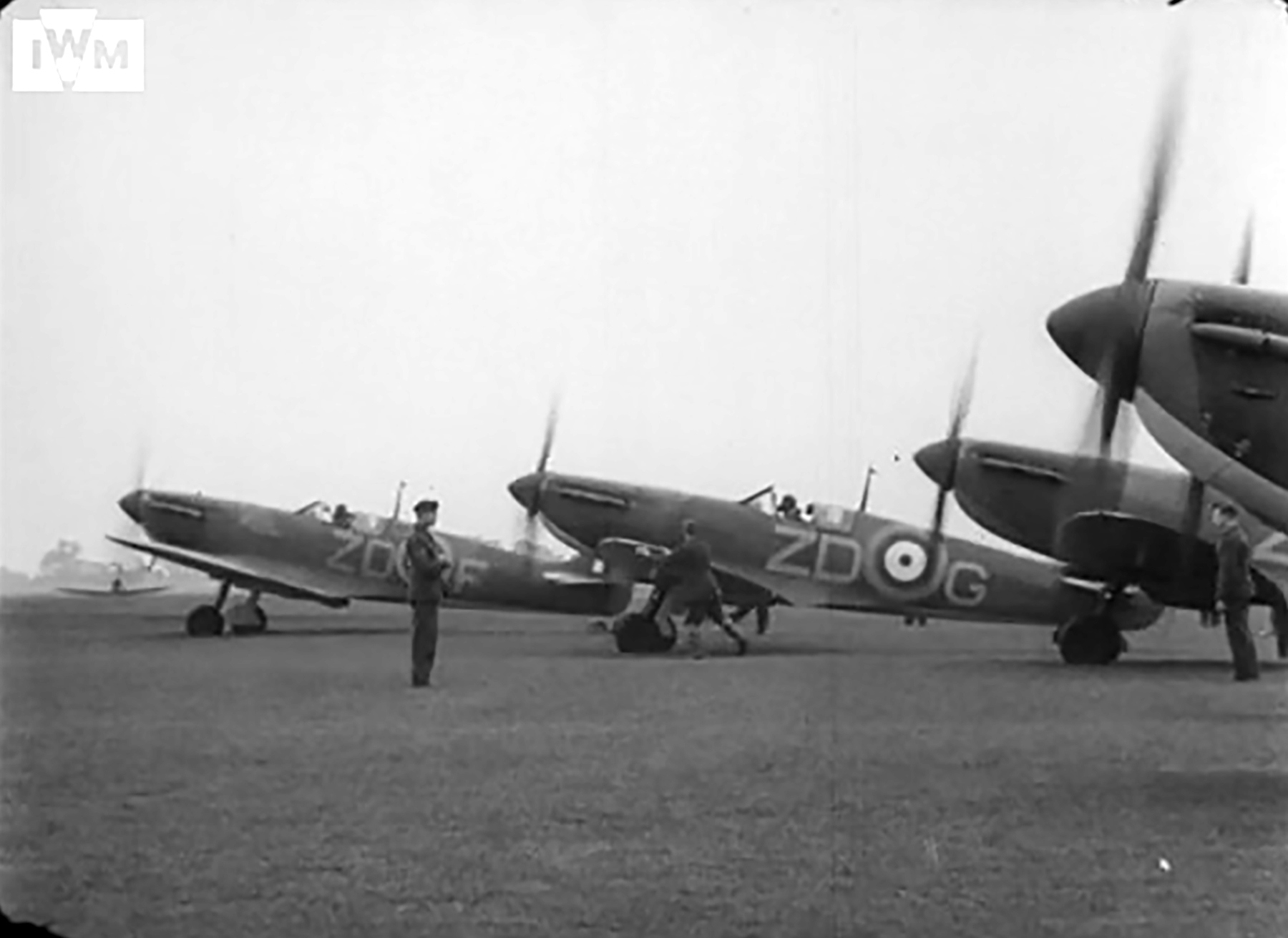 Spitfire MkIa RAF 222Sqn ZDF and ZDG P9328 taking off from RAF Kirton in Lindsey Jun 1940 0
