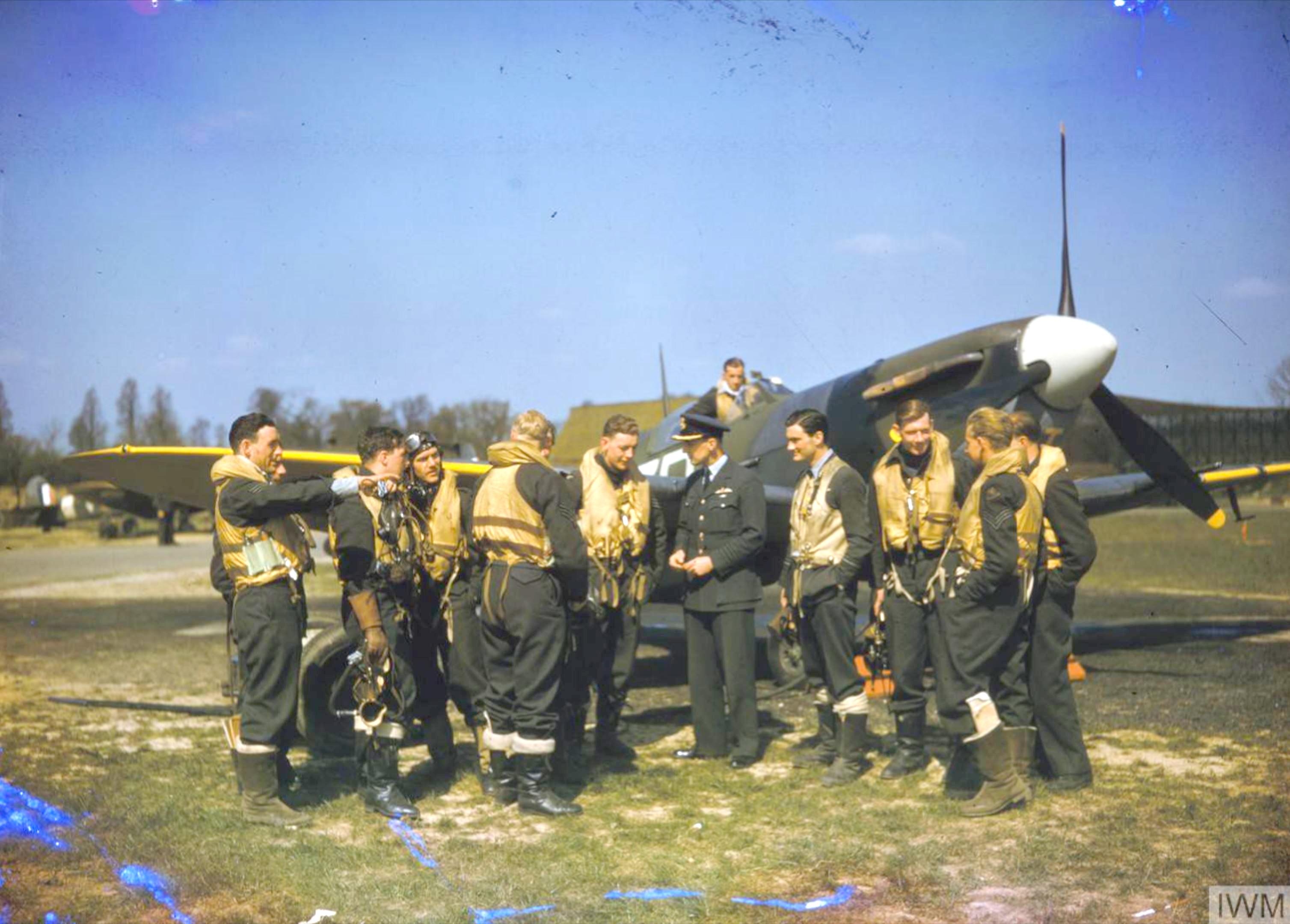 Spitfire MkVb RAF 222Sqn at North Weald Essex May 1942 IWM COL192