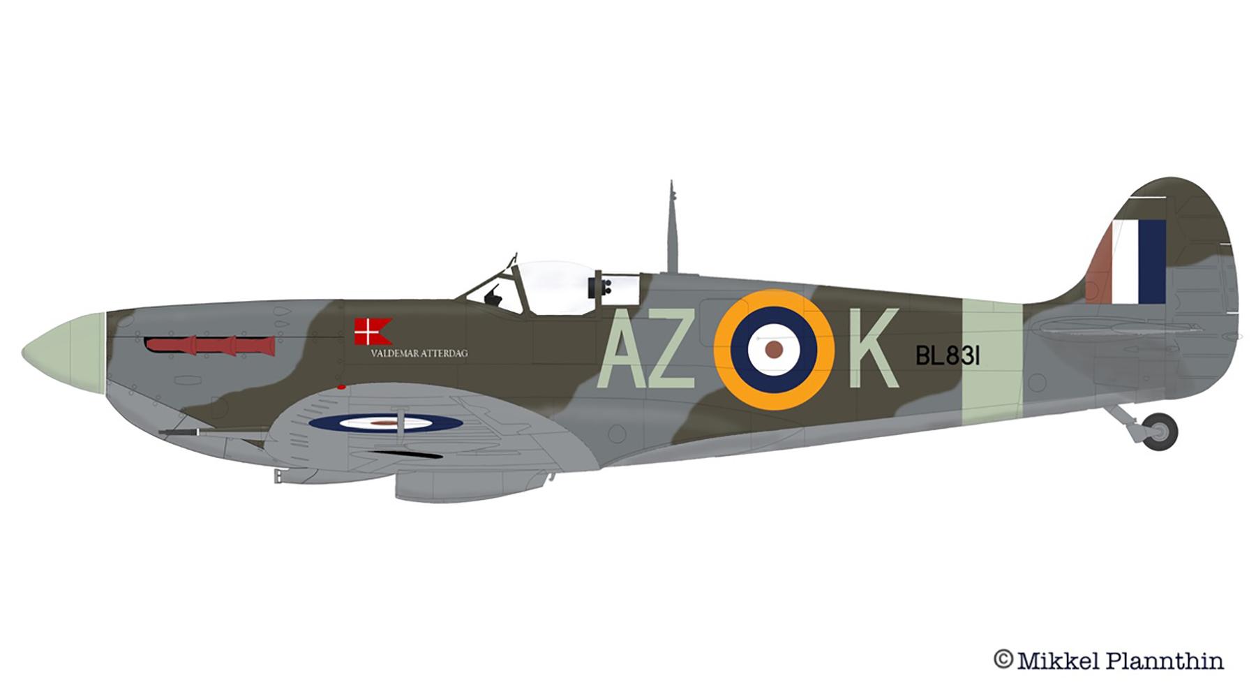 Spitfire MkVb RAF 234Sqn AZK named Valdemar Atterdag BL831 April 1942 by Mikkel Plannthin 0A