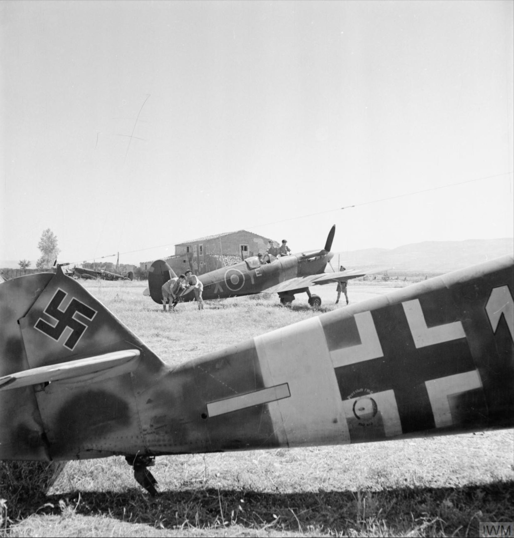 Spitfire MkVTrop RAF 243Sqn YEX at Comiso Sicily 1943 IWM CNA1029