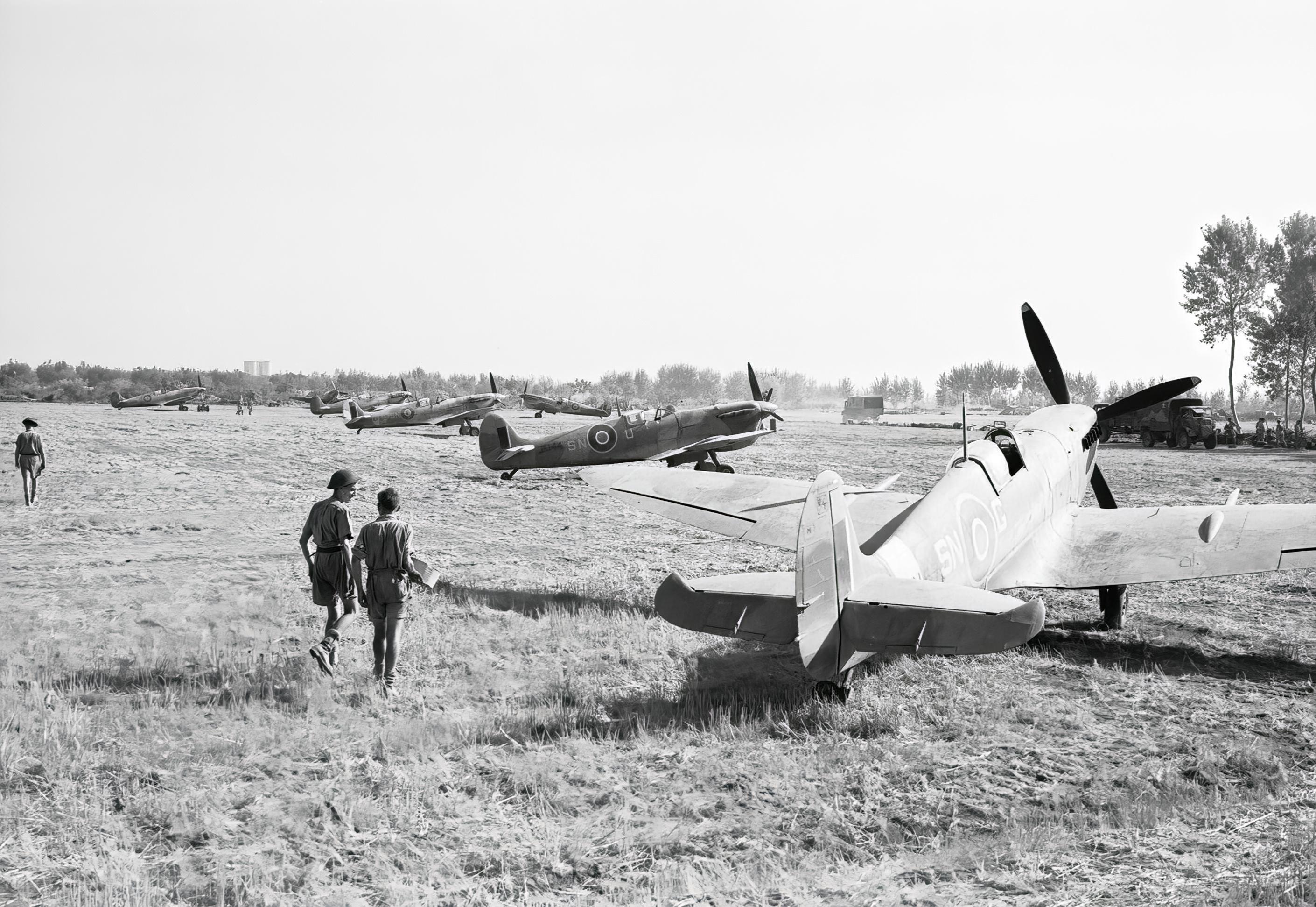 Spitfire Vc RAF 243Sqn SNG SNU JK144 at Tusciano landing ground Salerno IWM CNA1425