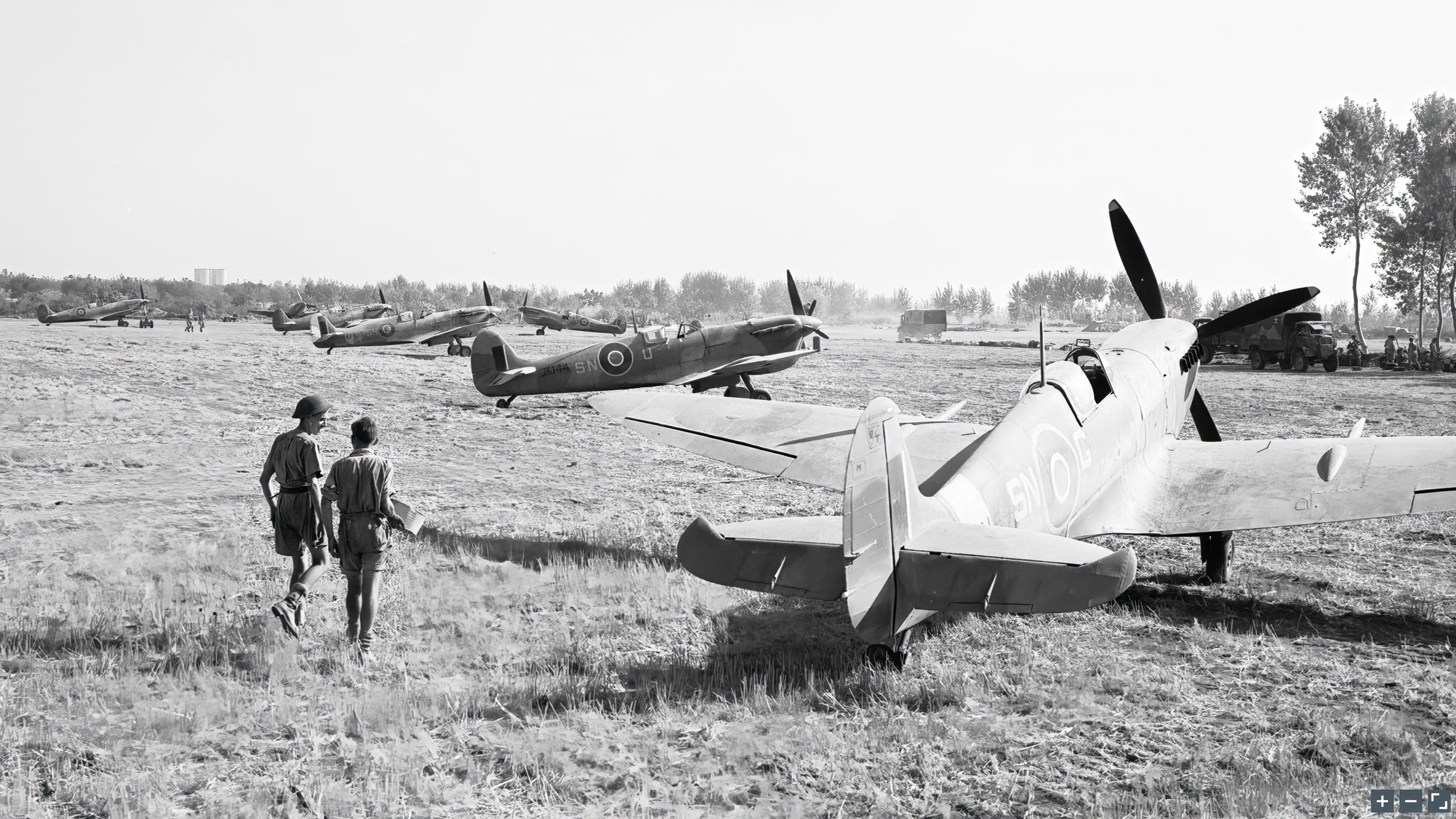 Spitfire Vc RAF 243Sqn SNG SNU JK144 at Tusciano landing ground Salerno IWM CNA1425a