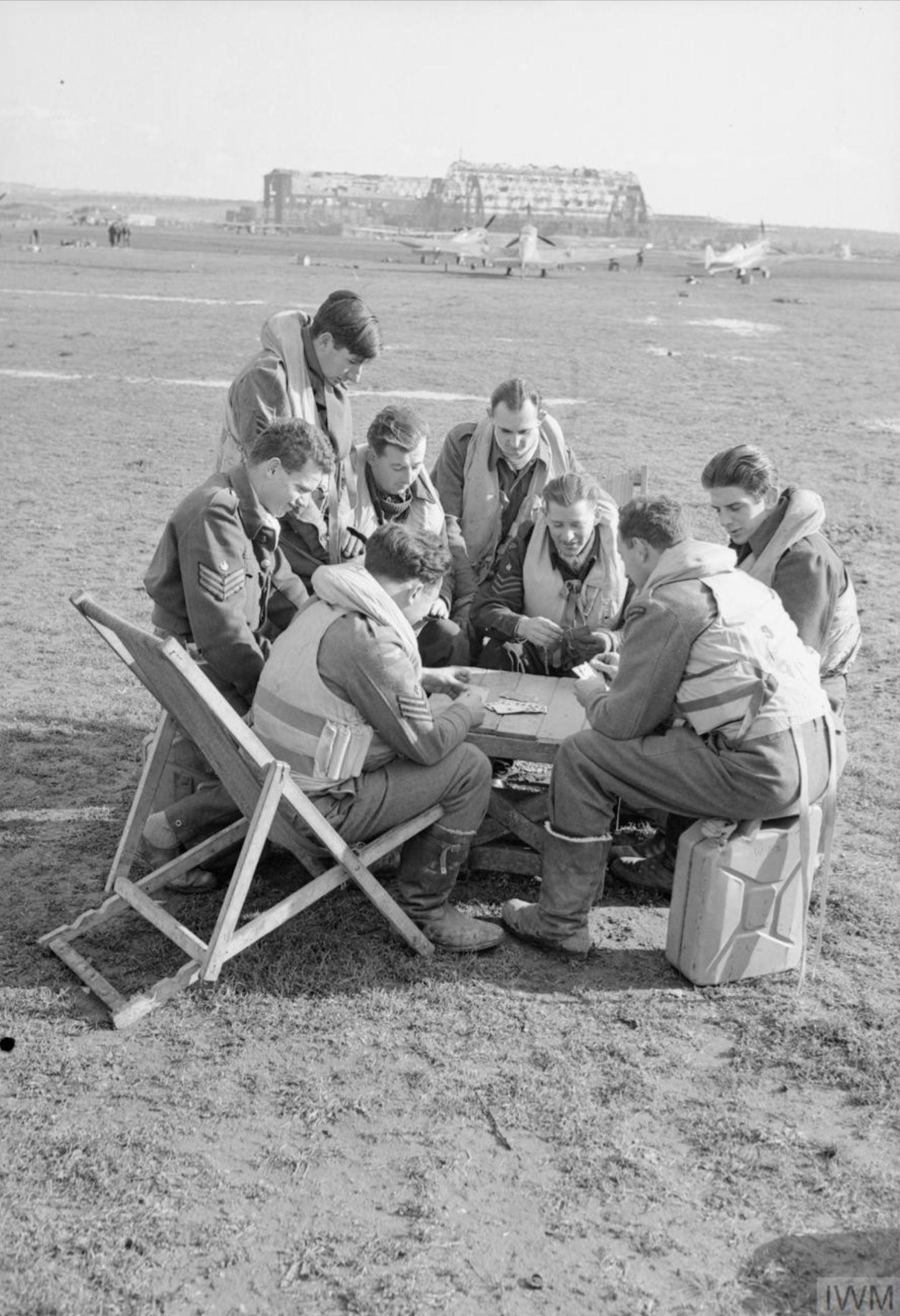 Aircrew RAF 249Sqn pilots between sorties at Grottaglie Italy IWM CNA2350