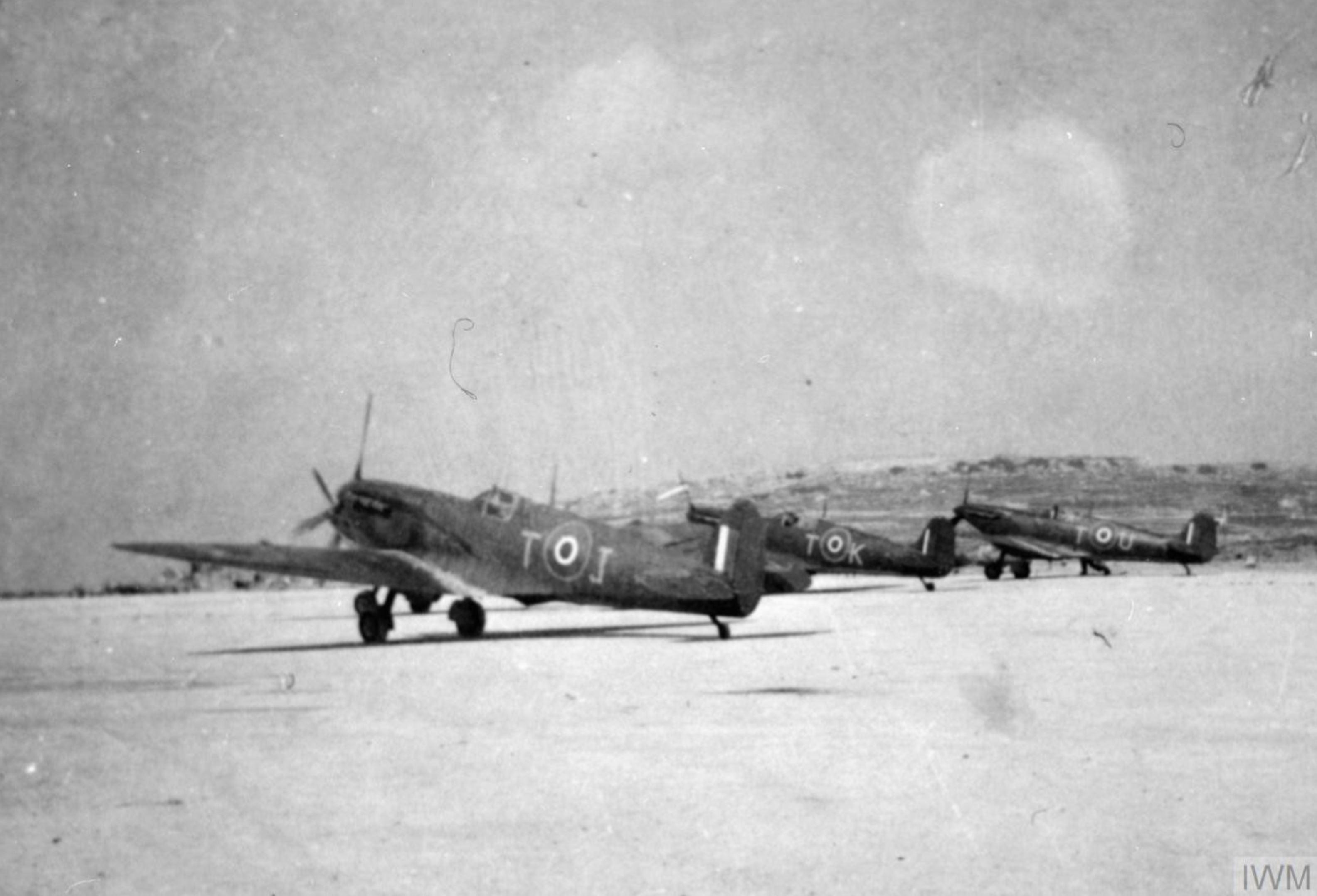 Spitfire MkVb RAF 249Sqn TJ TK n TU at Ta Kali Malta IWM HU72341
