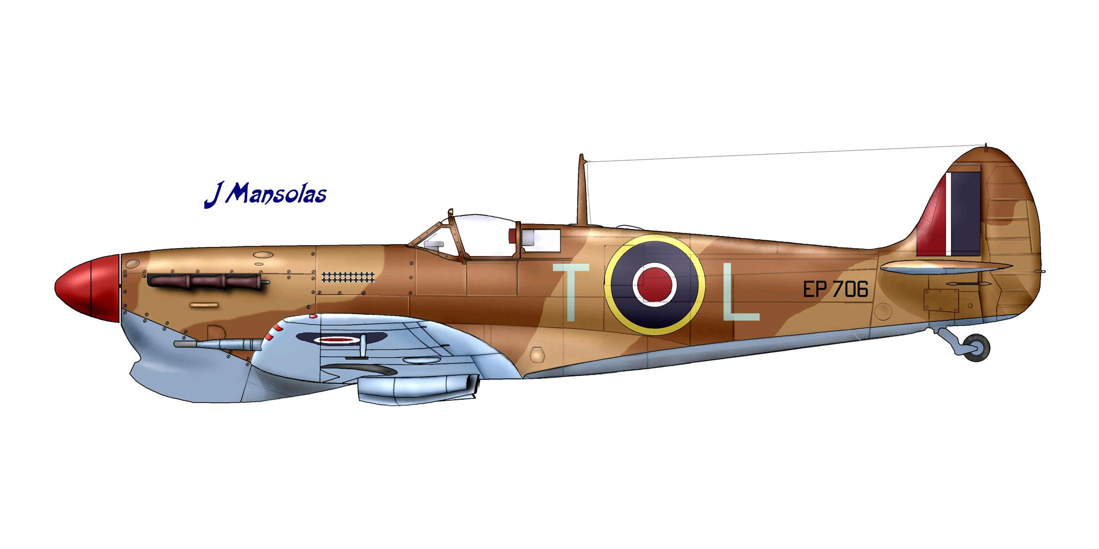 Spitfire MkVbTrop RAF 249Sqn TL George Beurlin EP706 Ta Qali Malta 1942 0A