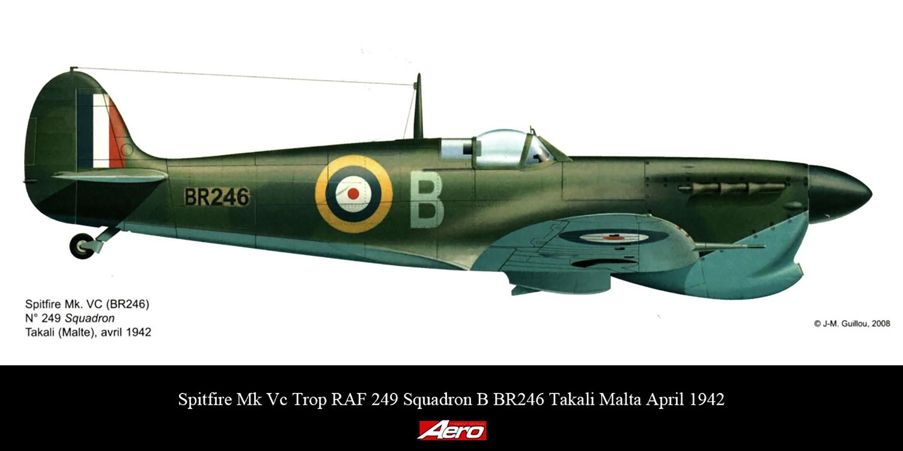 Spitfire MkVcTrop RAF 249Sqn B BR246 Takali Malta April 1942
