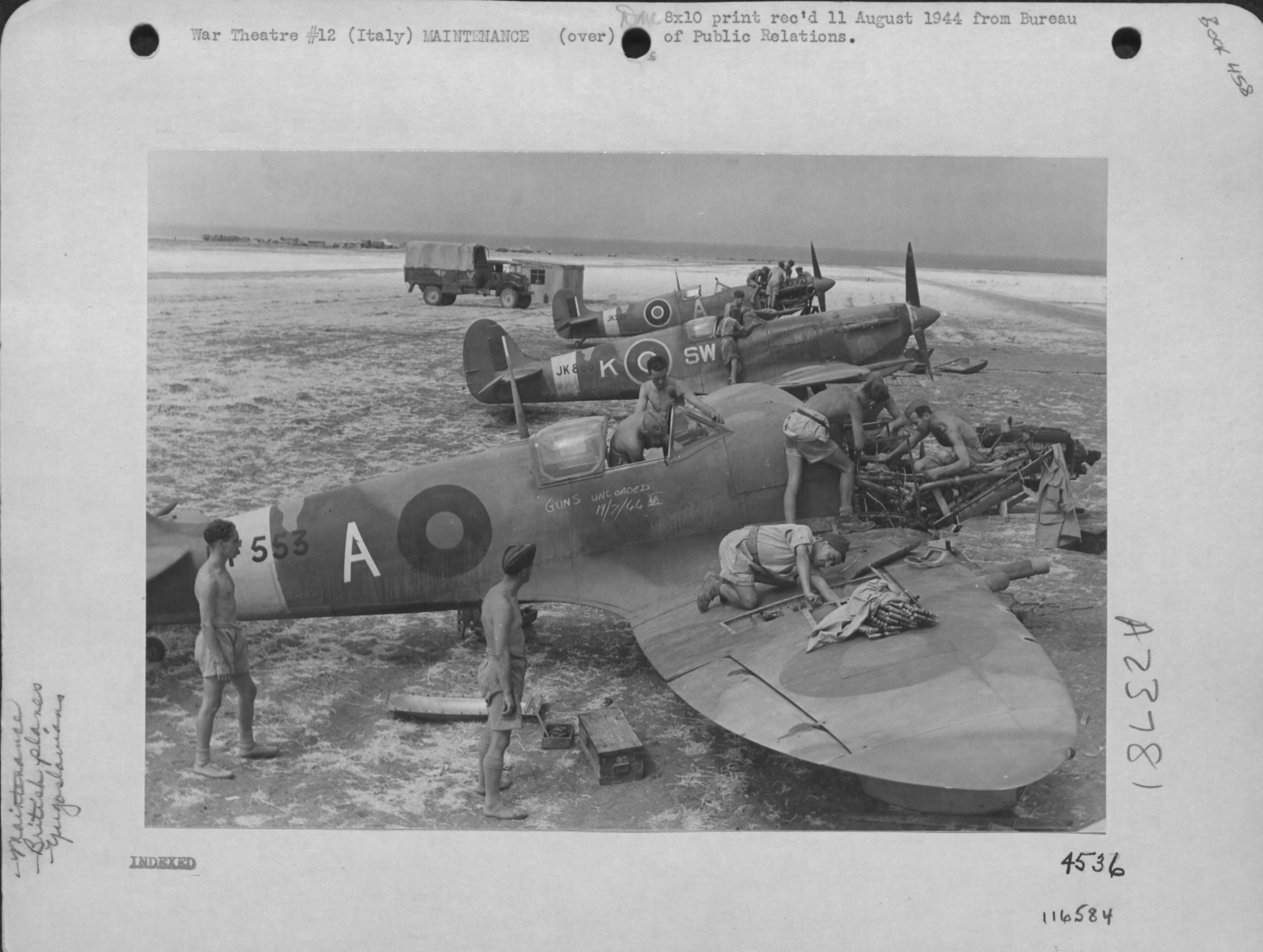 Spitfire MkVcTrop RAF 253Sqn SWK undergoing repairs JK868 Italy July 19 1944 01