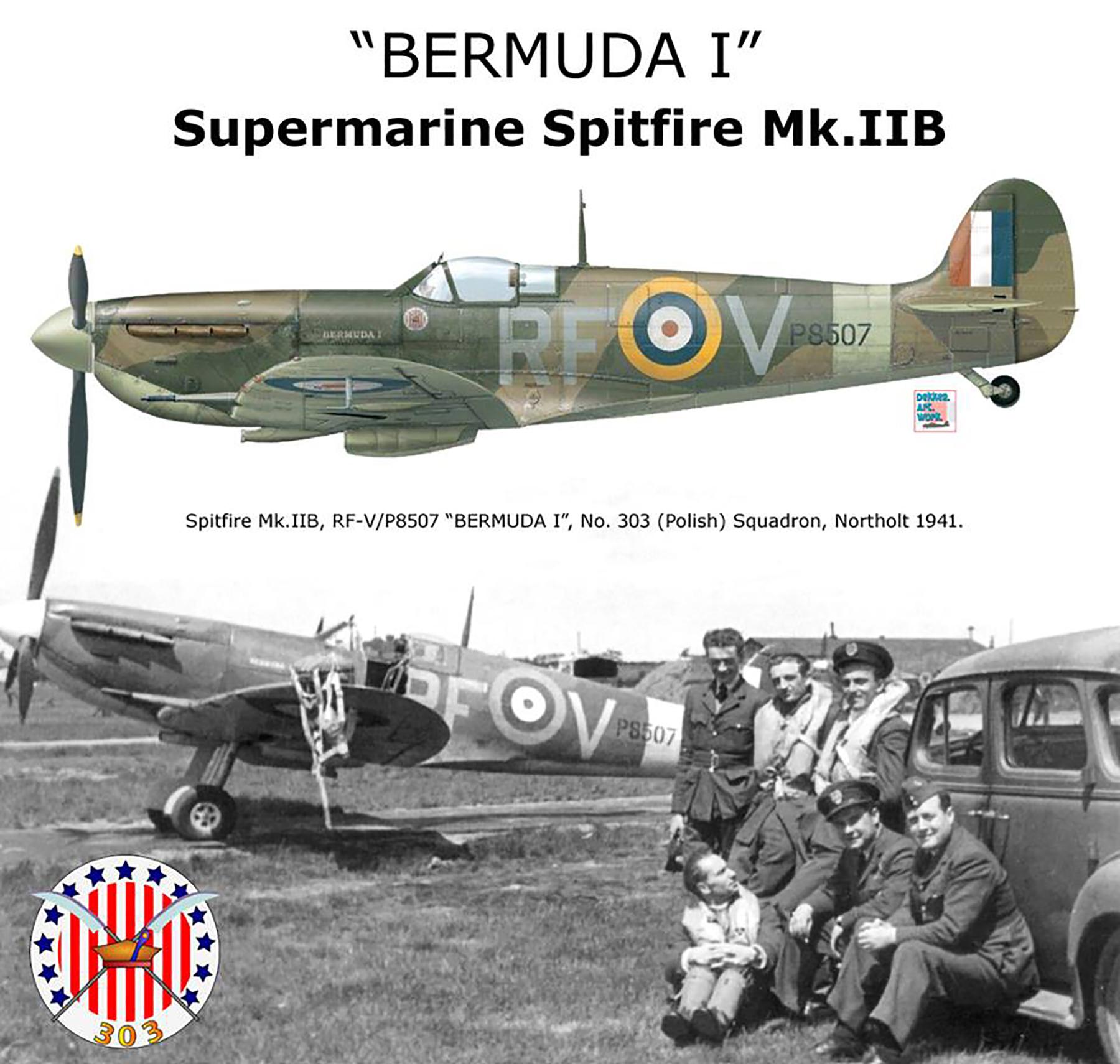 Spitfire MkIIb RAF 303(Polish) RFV Bermuda I P8507 Northolt 1941 01