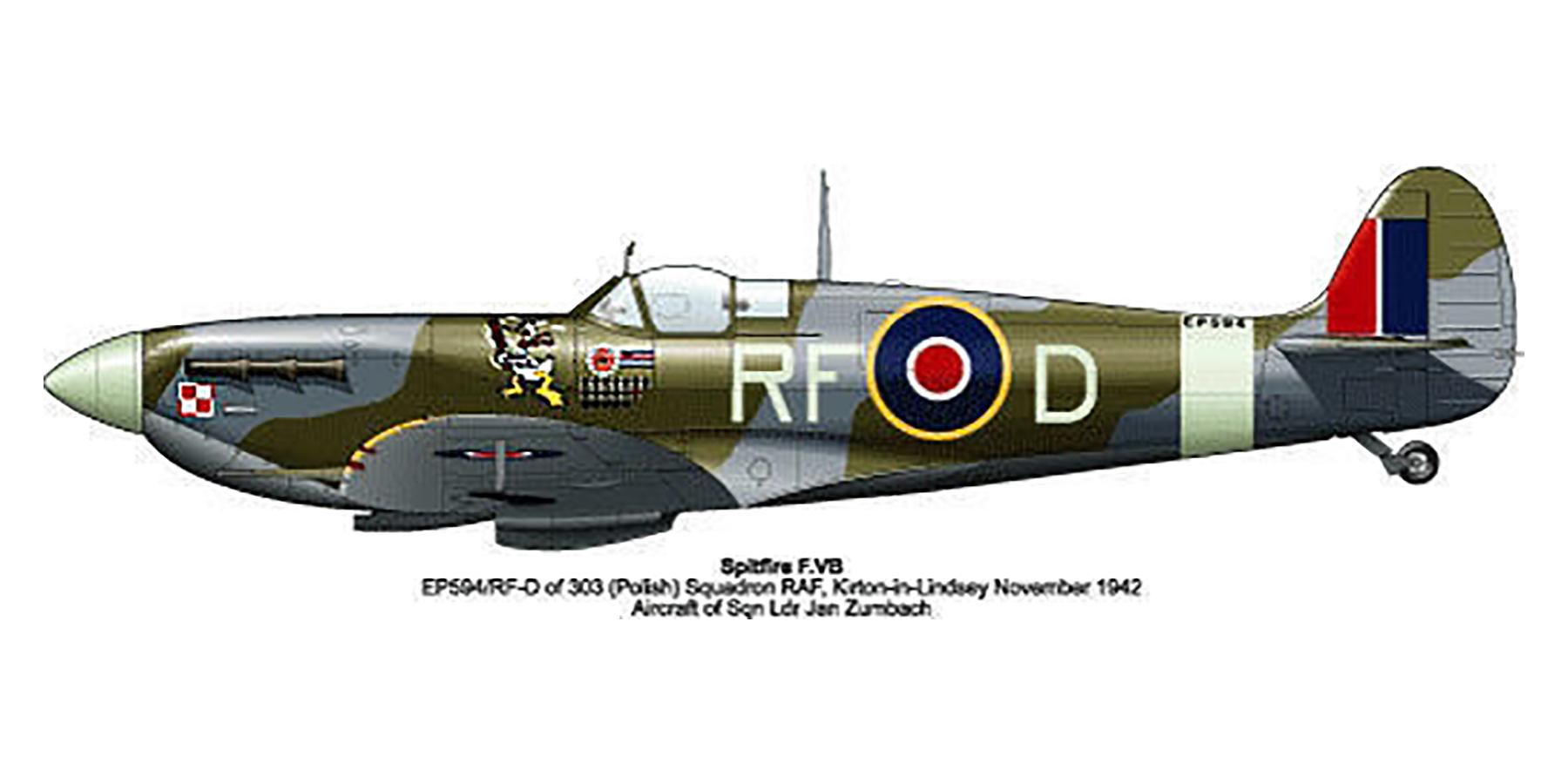 Spitfire MkVb RAF 303 Polish RFD Jan Zumbach EN951 Kirton in Lindsey 1942 0A