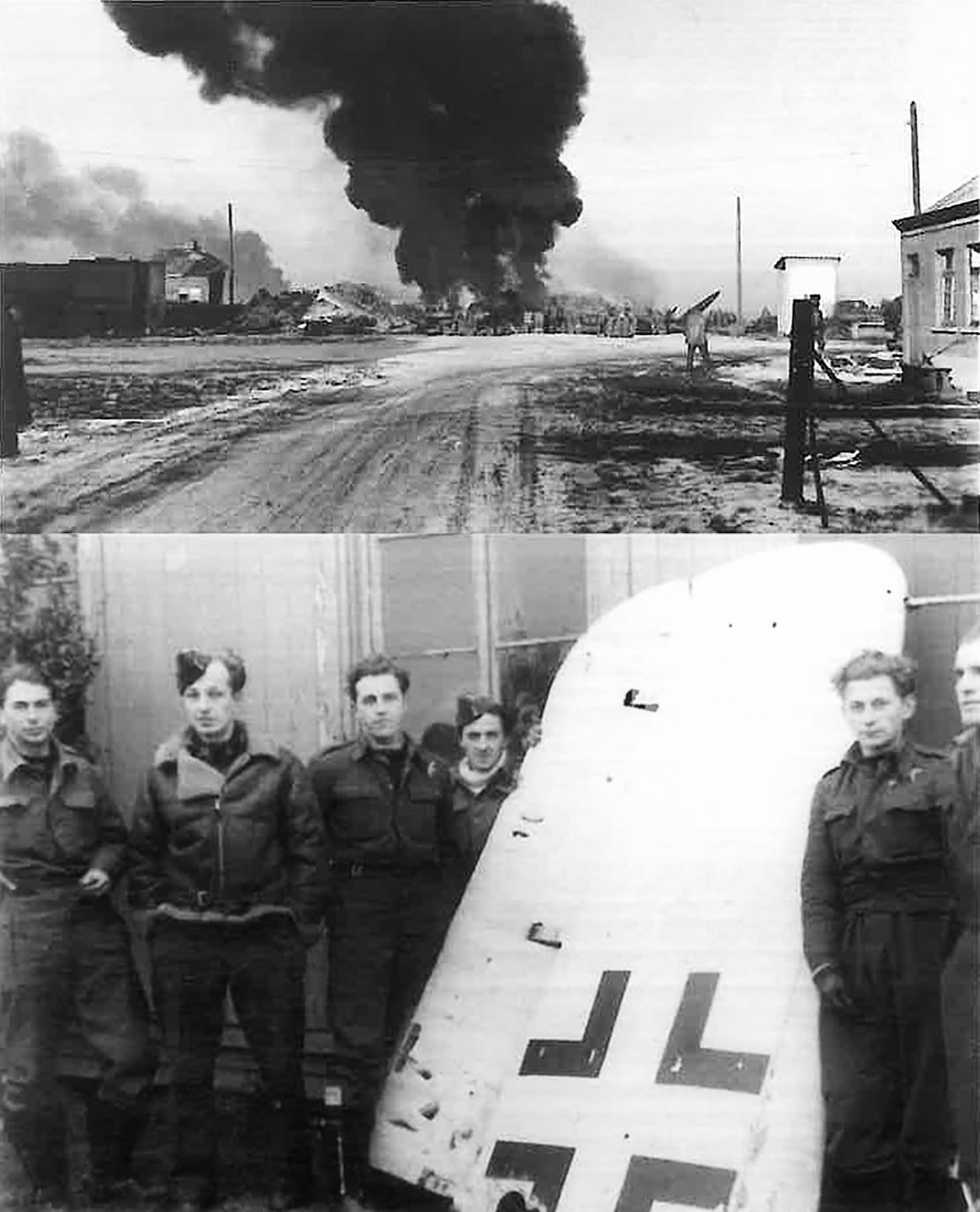 Aircrew RAF 308Sqn pilot Taddeusz Szlenkier with remains of his Fw 190 SD 1st Jan 1945 01