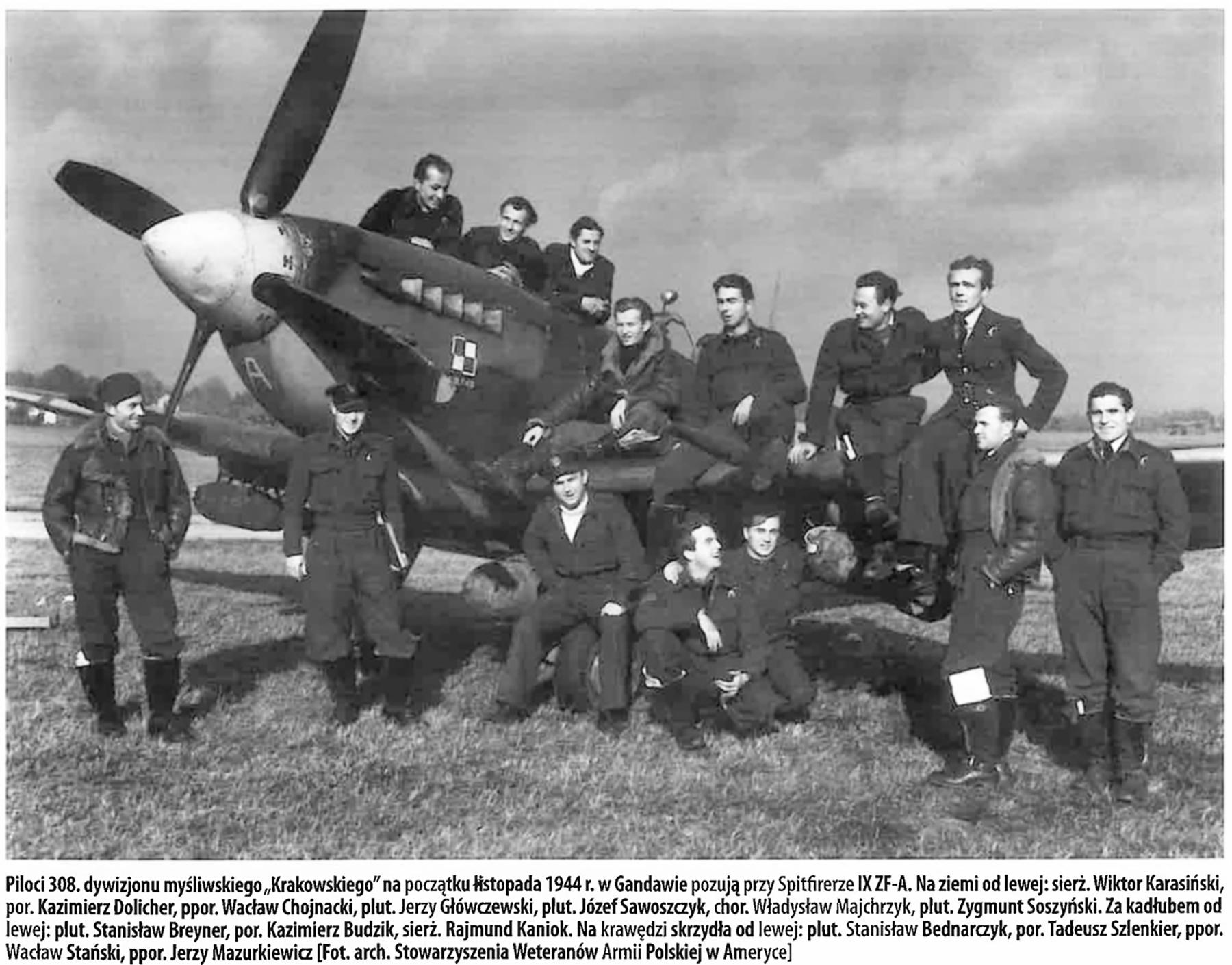Aircrew RAF 308Sqn pilots with Spitfire IX RAF 308Sqn ZF A 1944 01