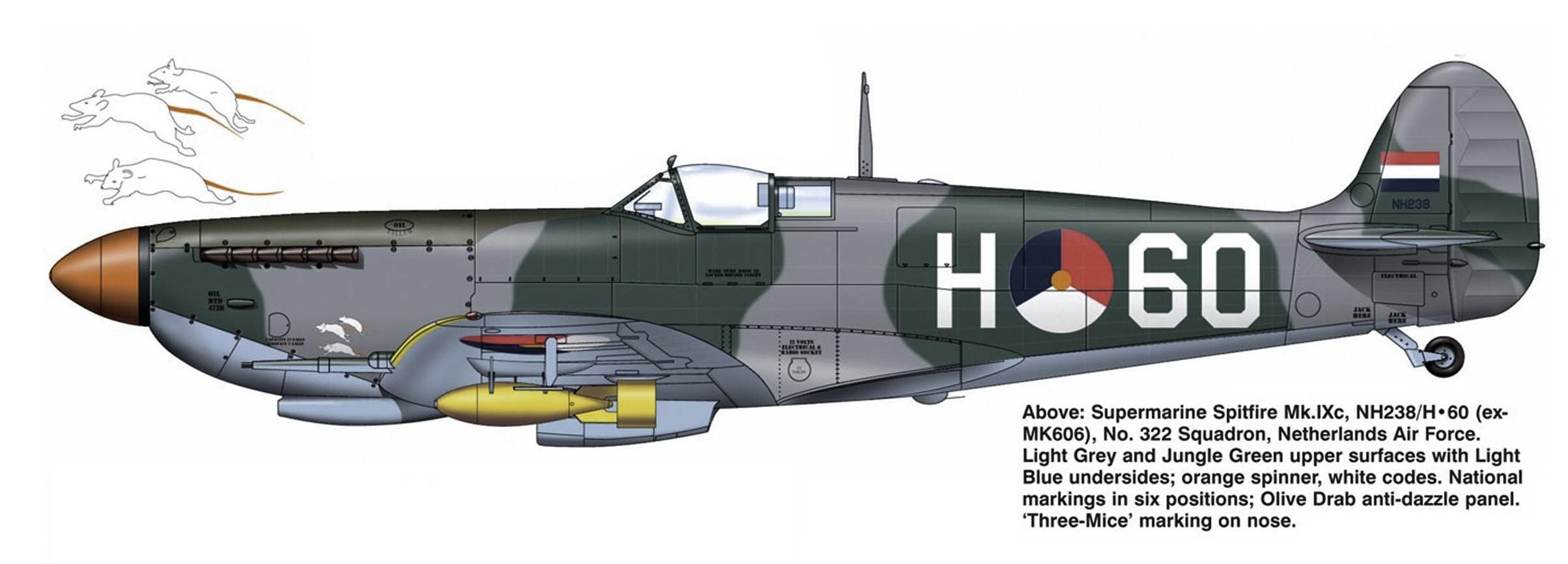 Spitfire MkIXc RAF 322Sqn H60 NH238 exMK606 RNEIAF Holland 0A