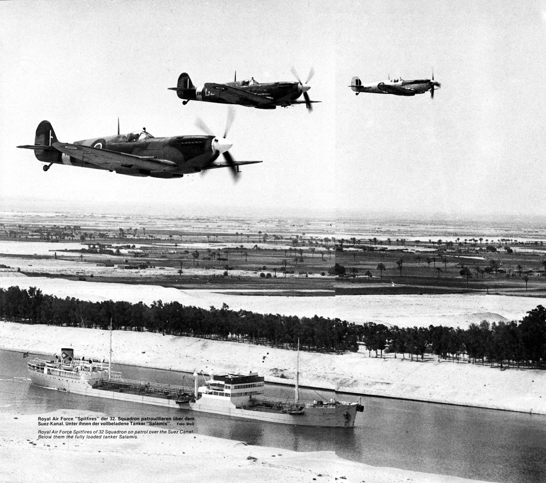 Spitfire MkIX RAF 32Sqn over the Suez Canal and Merchant Tanker Salamis 1946 01