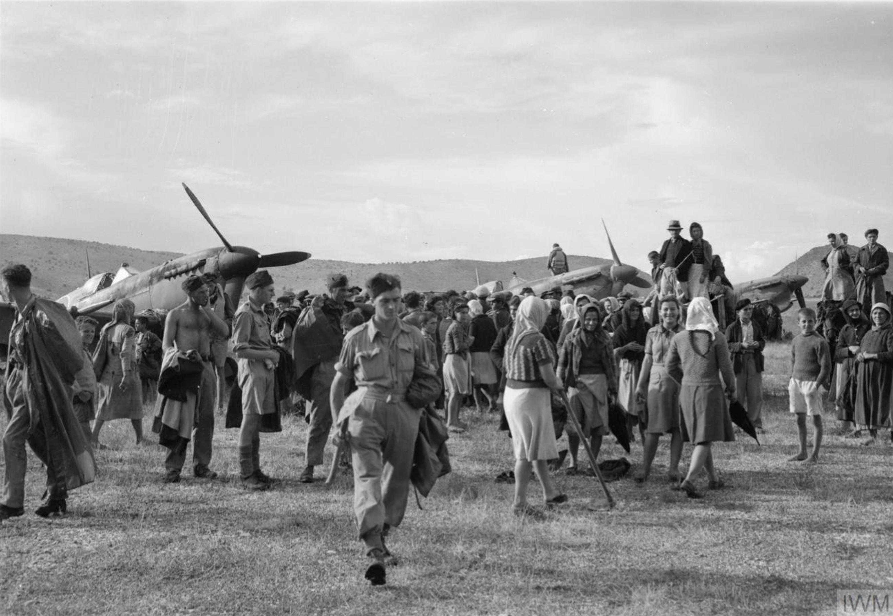 Spitfire MkVcTrop RAF 32Sqn arriving at Araxos Greece 23 Sep 1944 IWM CNA3157