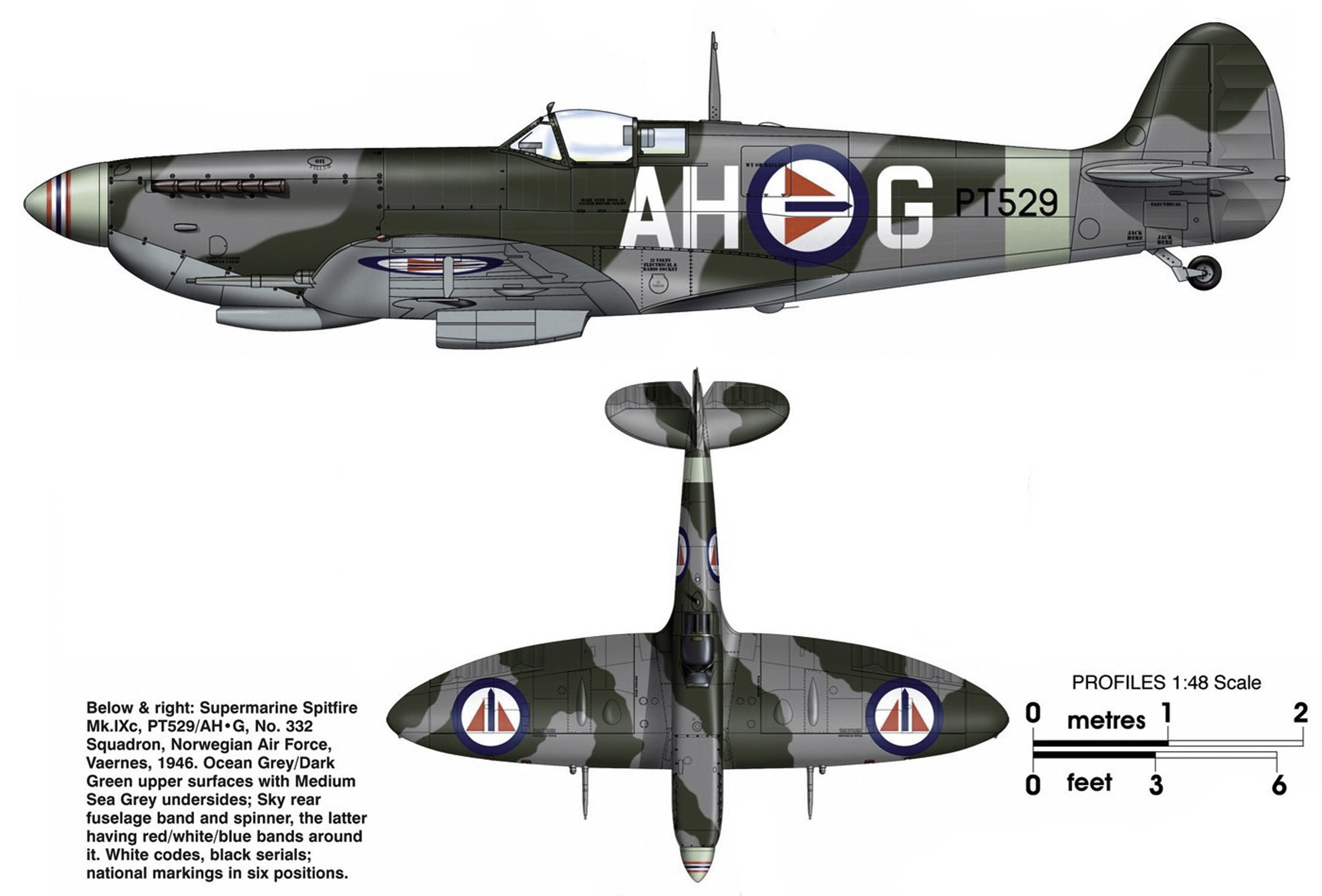 Spitfire MkIXc RAF 332Sqn AHG PT529 Vaernes 1946 0A