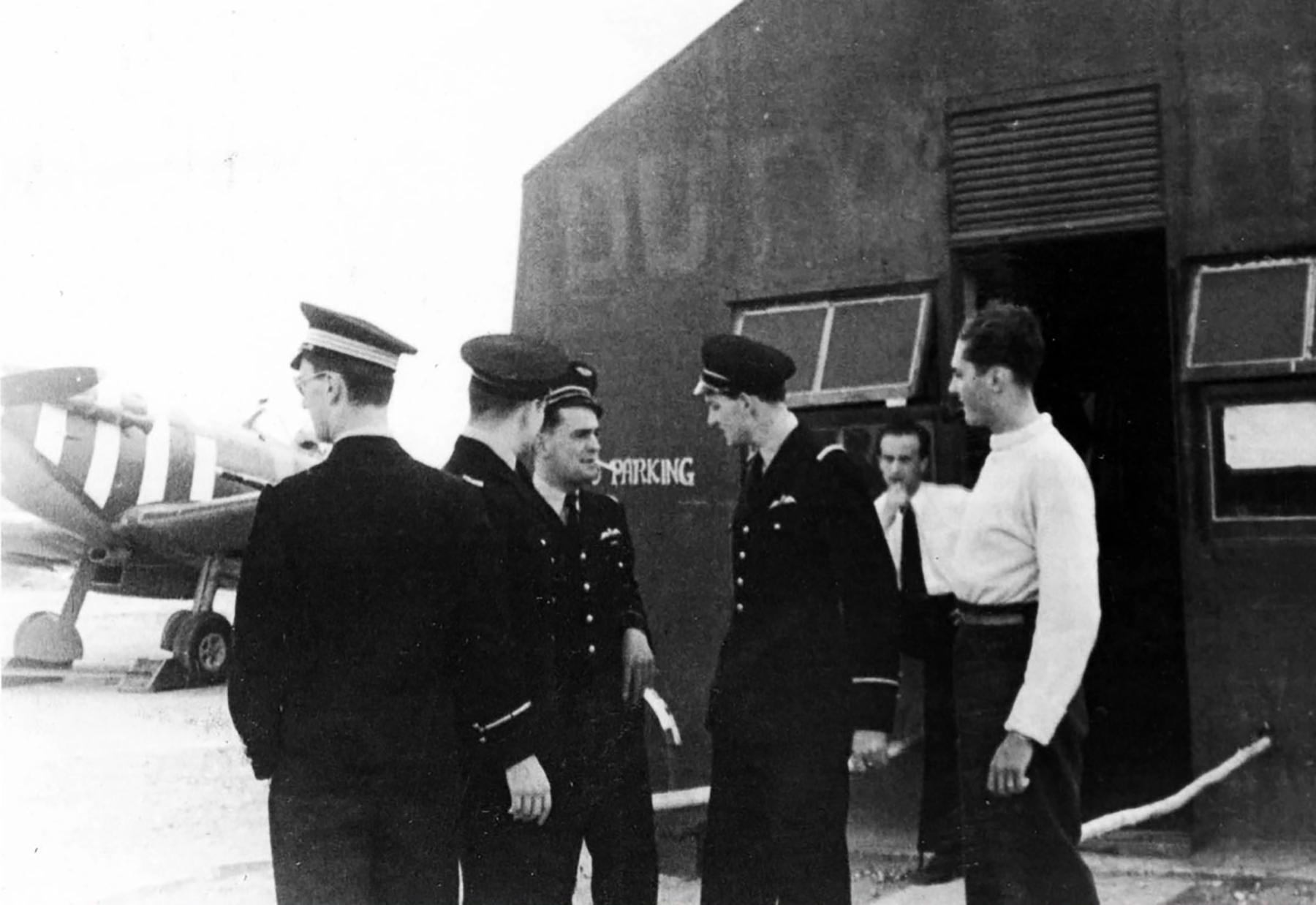 Aircrew RAF 340Sqn French pilots gather at the duty office Westhampnett 01