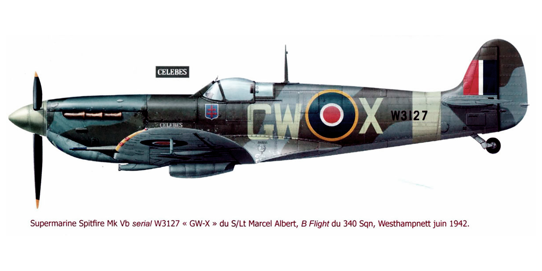 Spitfire MkVb RAF 340Sqn GWX Marcel Albert W3127 Westhampnett Chichester June 1942 0A