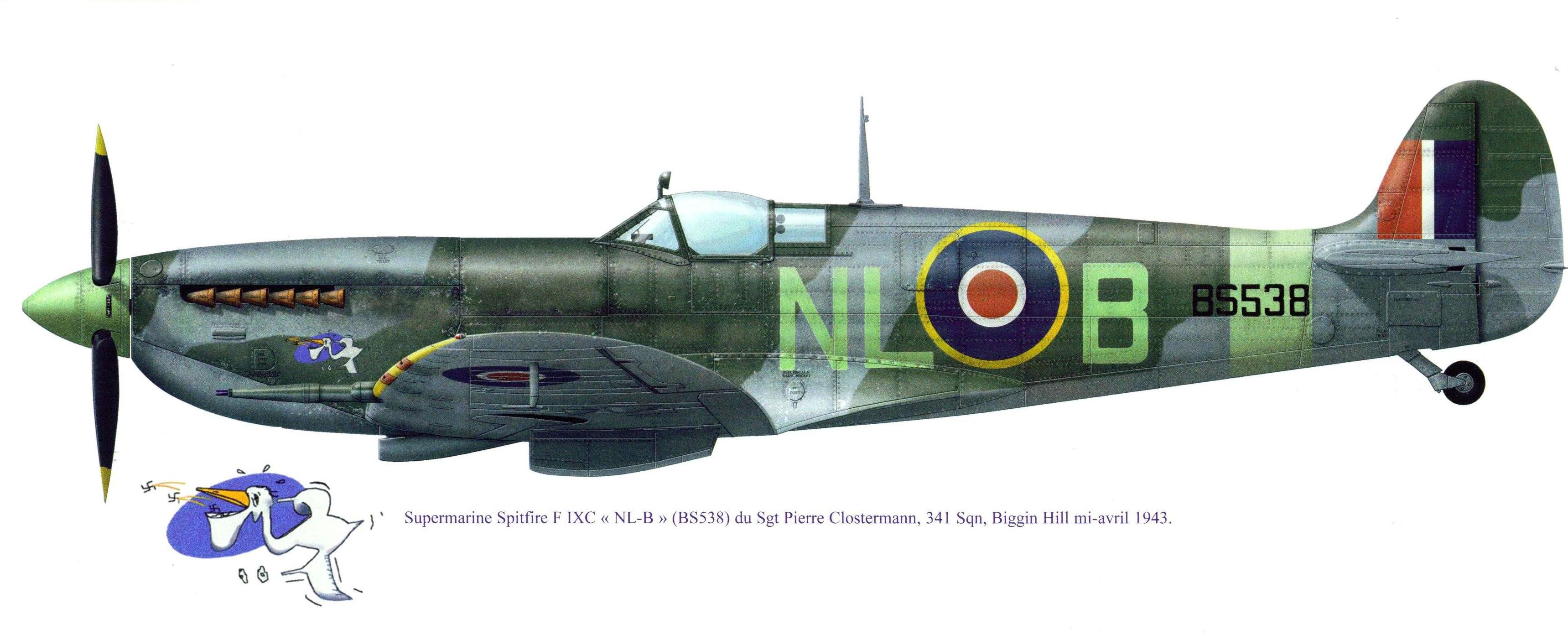 Spitfire LFIX RAF 341Sqn NLB Pierre Clostermann BS538 Biggin Hill 1943 0B