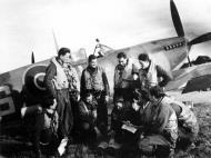 Asisbiz Spitfire LFIX RAF 341Sqn NLS PL223 George Lents and fellow pilots 13 Oct 1944 01