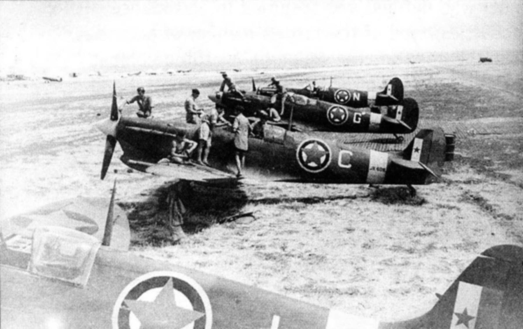 Spitfire MkVcTrop RAF 352Sqn C JK608 JK808 with G N Canne Italy 1944 01