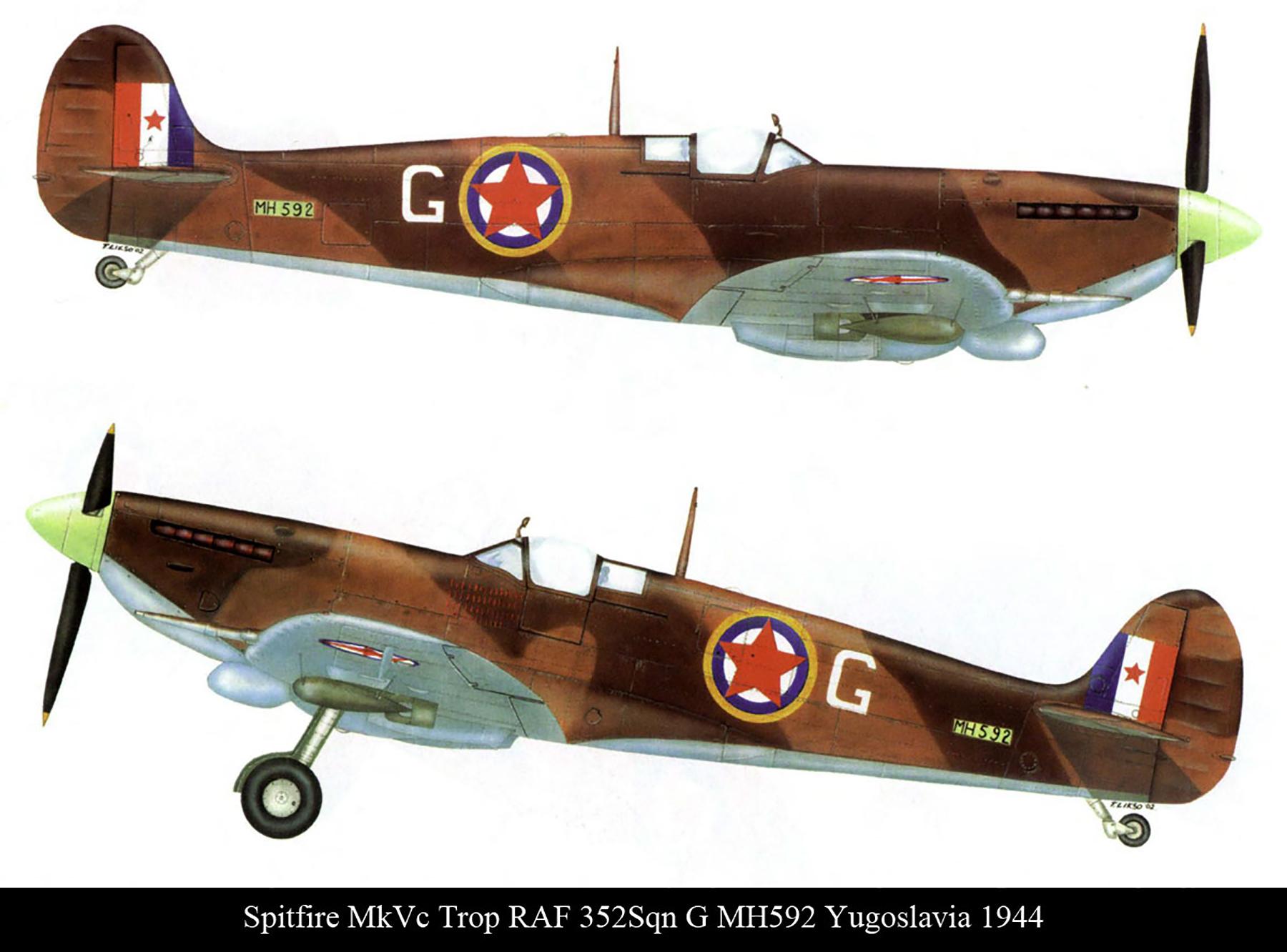 Spitfire MkVcTrop RAF 352Sqn G MH592 Yugoslavia 1944 0A