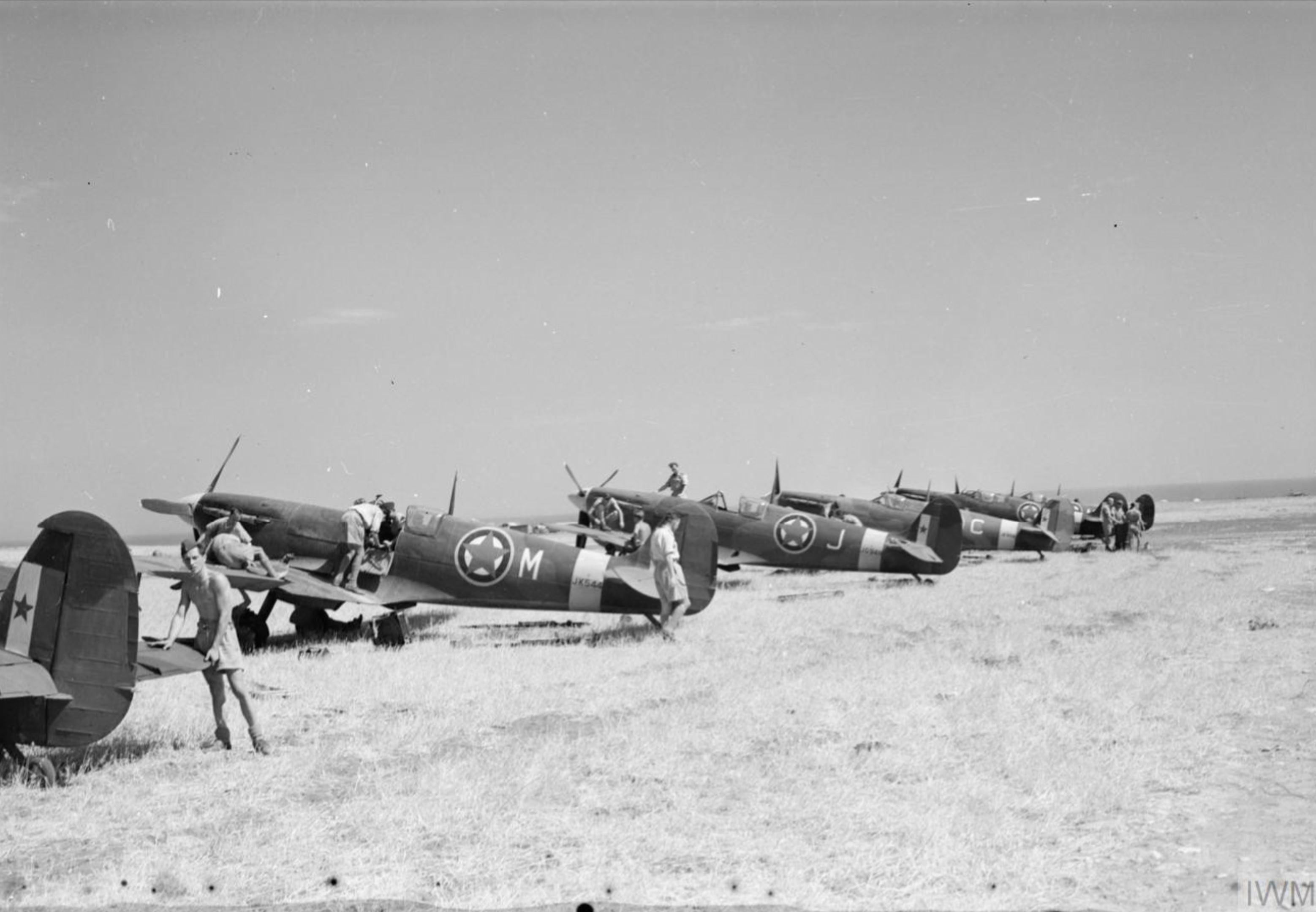 Spitfire MkVcTrop RAF 352Sqn M JK544 at Canne Italy 1944 IWM CNA3097