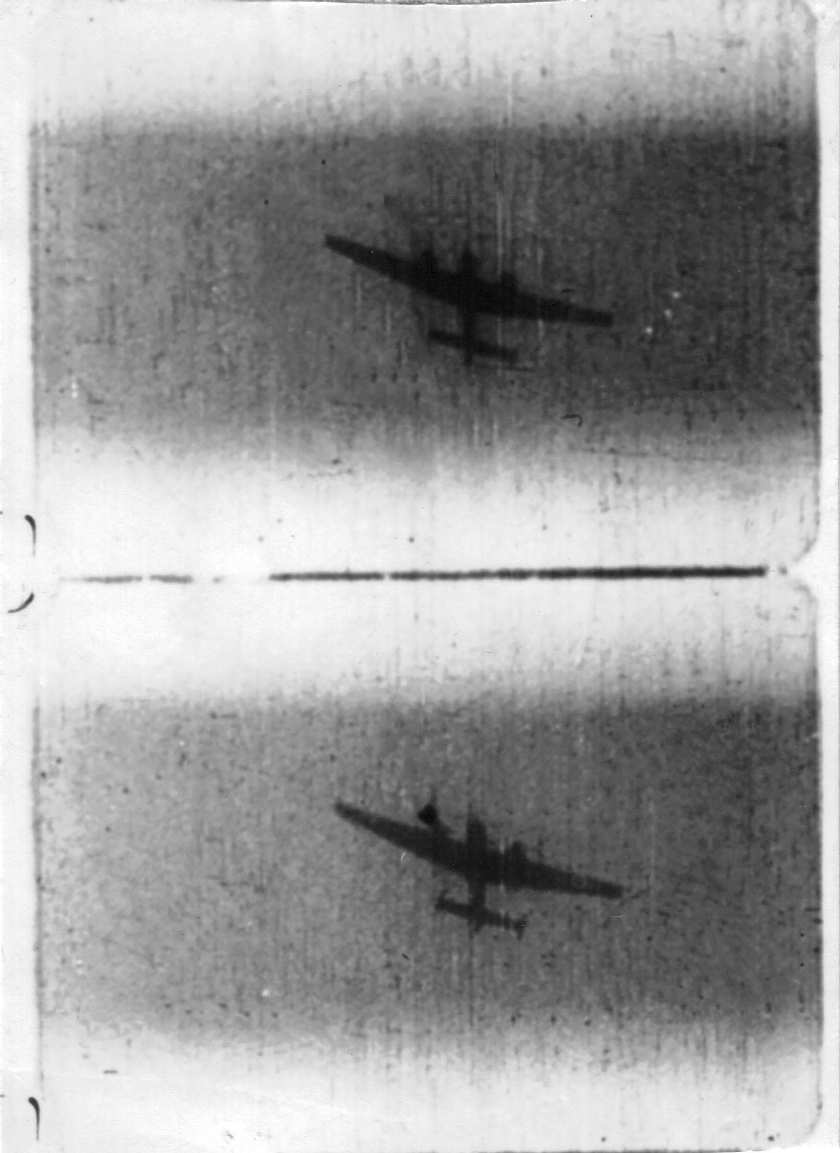 BW photos Ted Shipman Spitfire gun camera film Bf 110 over Barnard Castle County Durham 15th Aug 1940 01