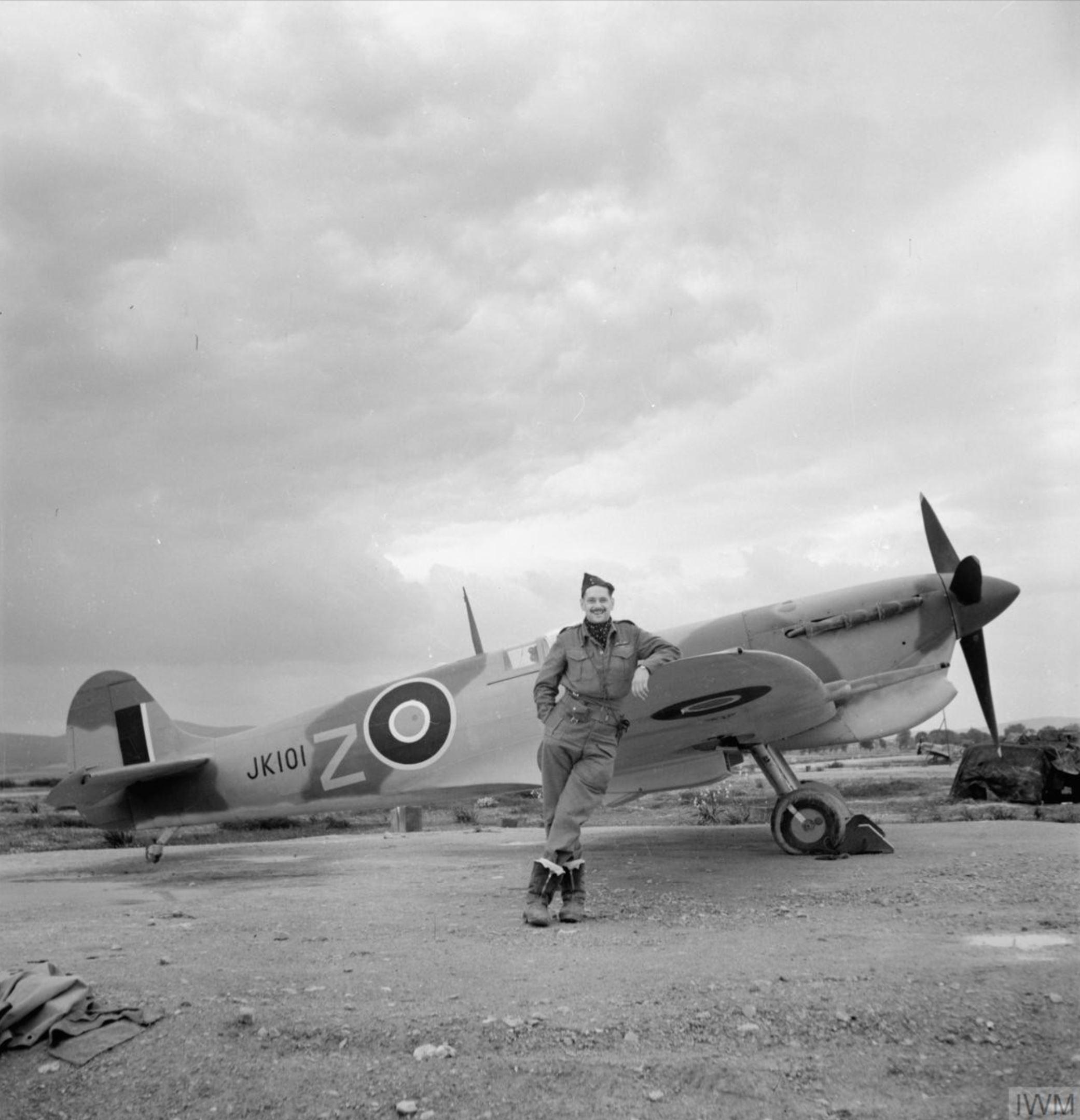 Spitfire MkVcTrop RAF 43Sqn FTZ JK101 with Sqn Ldr M Rook at Jemappes Algeria IWM CNA356