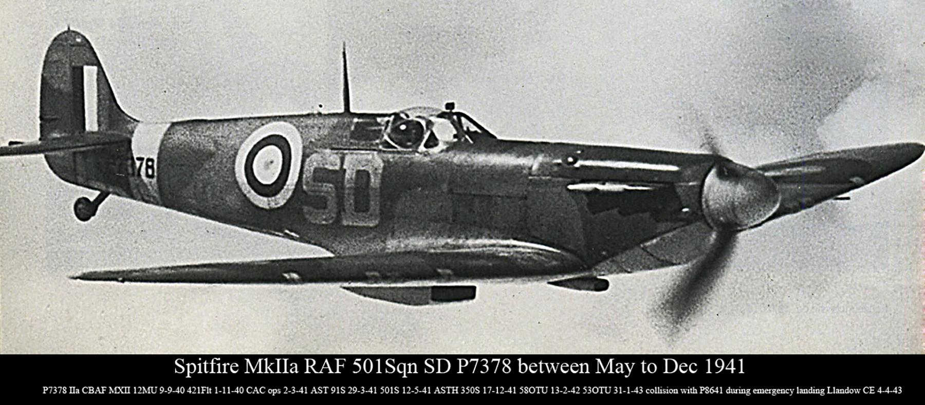 Spitfire MkIIa RAF 501Sqn SD P7378 between May to Dec 1941