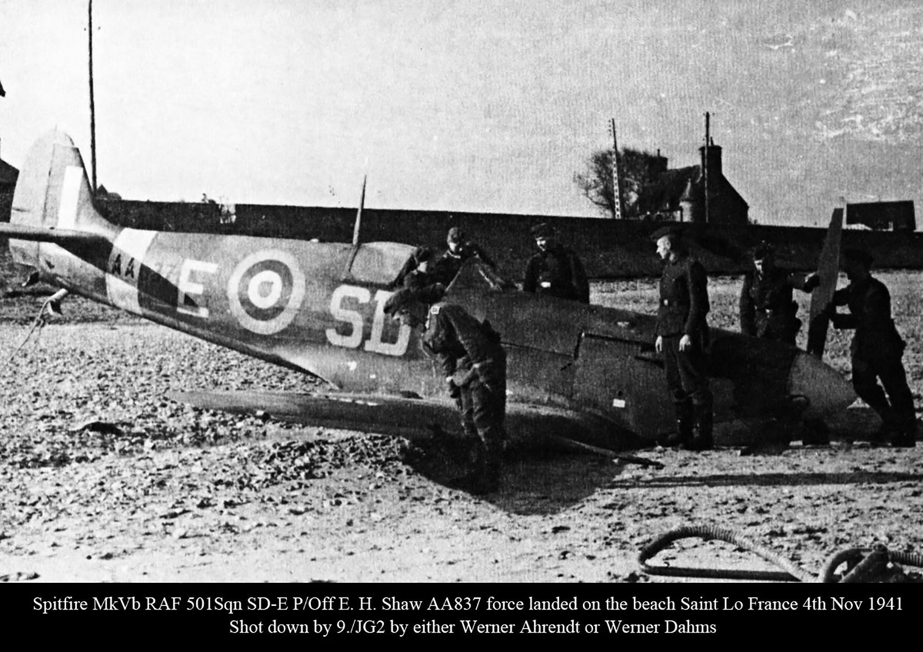 Spitfire MkVb RAF 501Sqn SDE Shaw AA837 force landed St Lo France 4th Nov 1941 01