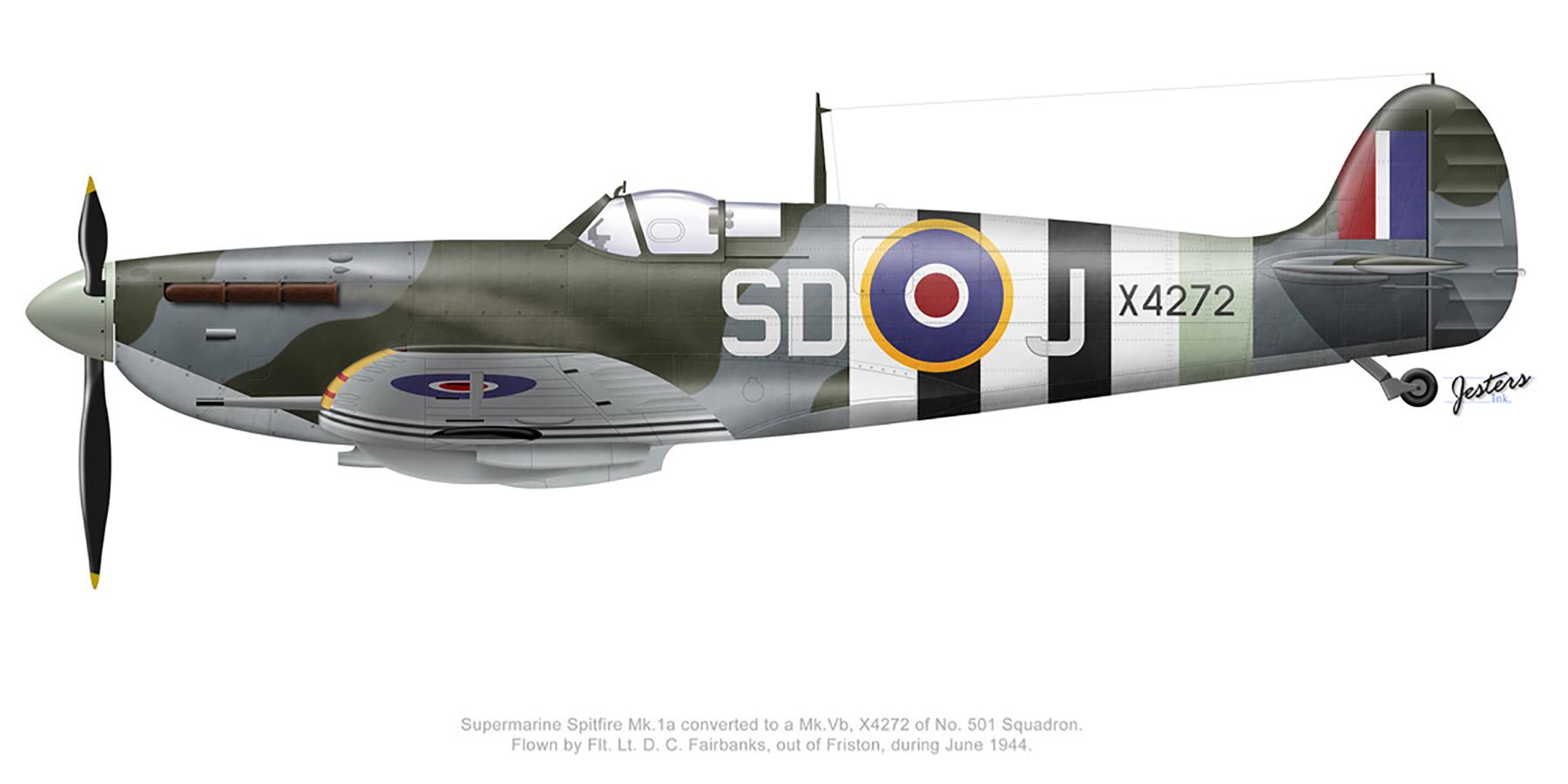 Spitfire MkVb RAF 501Sqn SDJ DC Fairbanks X4272 Friston June 1944 0A