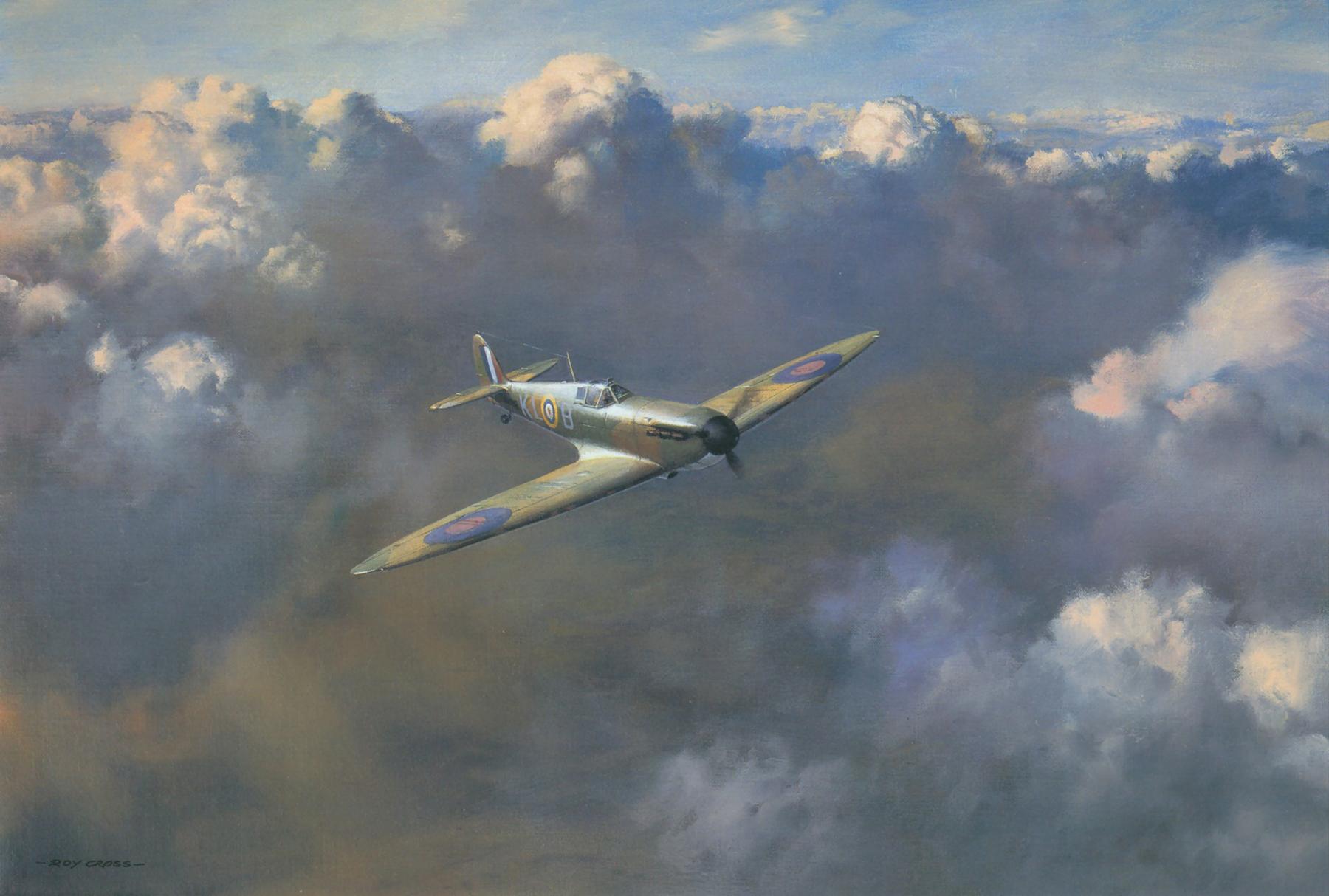 Painting by Roy Cross Spitfire MkI RAF 54Sqn PO Al Deere 0A