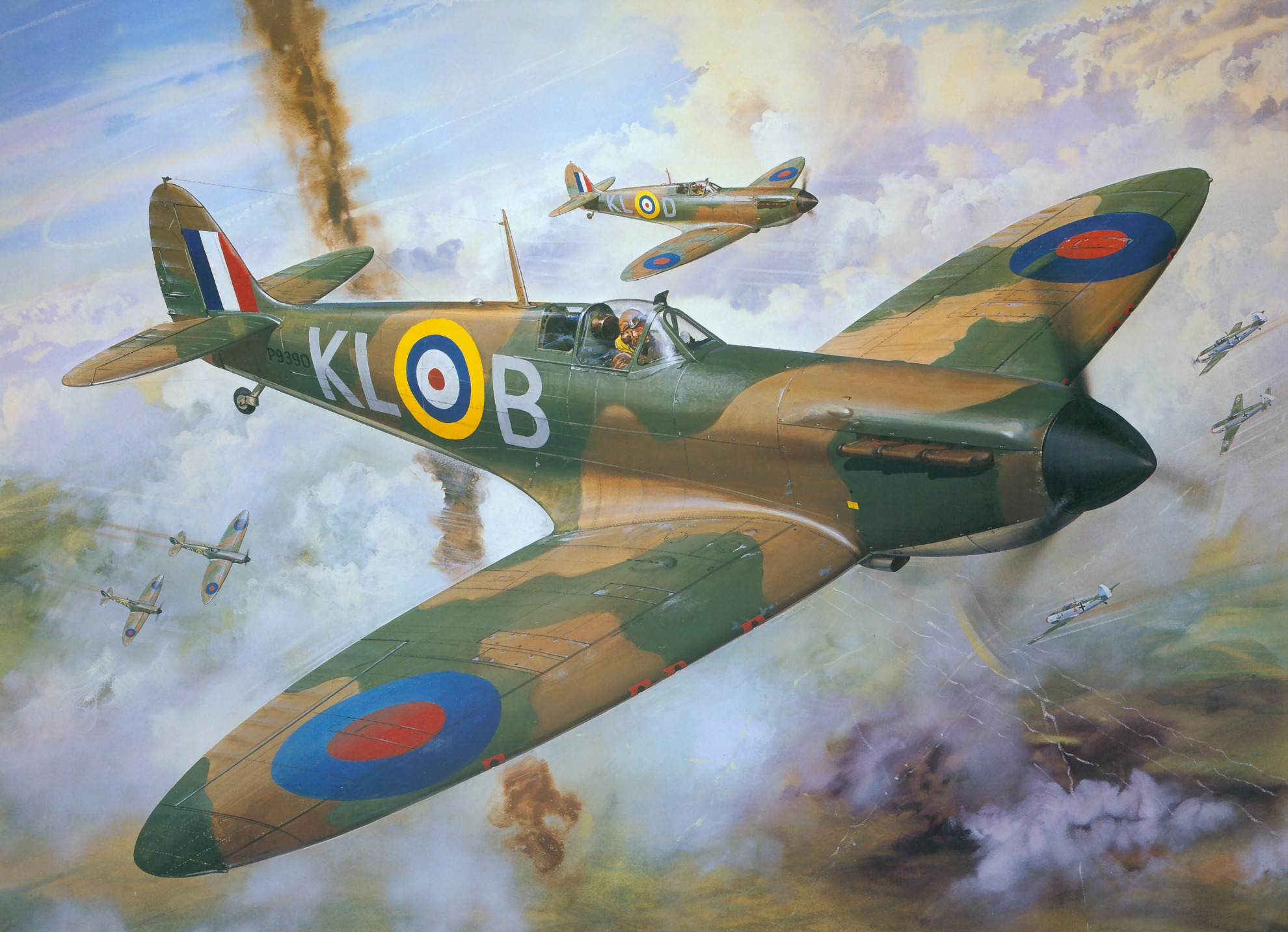 Painting by Roy Cross Spitfire MkI RAF 54Sqn PO Al Deere for Airfax Superkit 0A