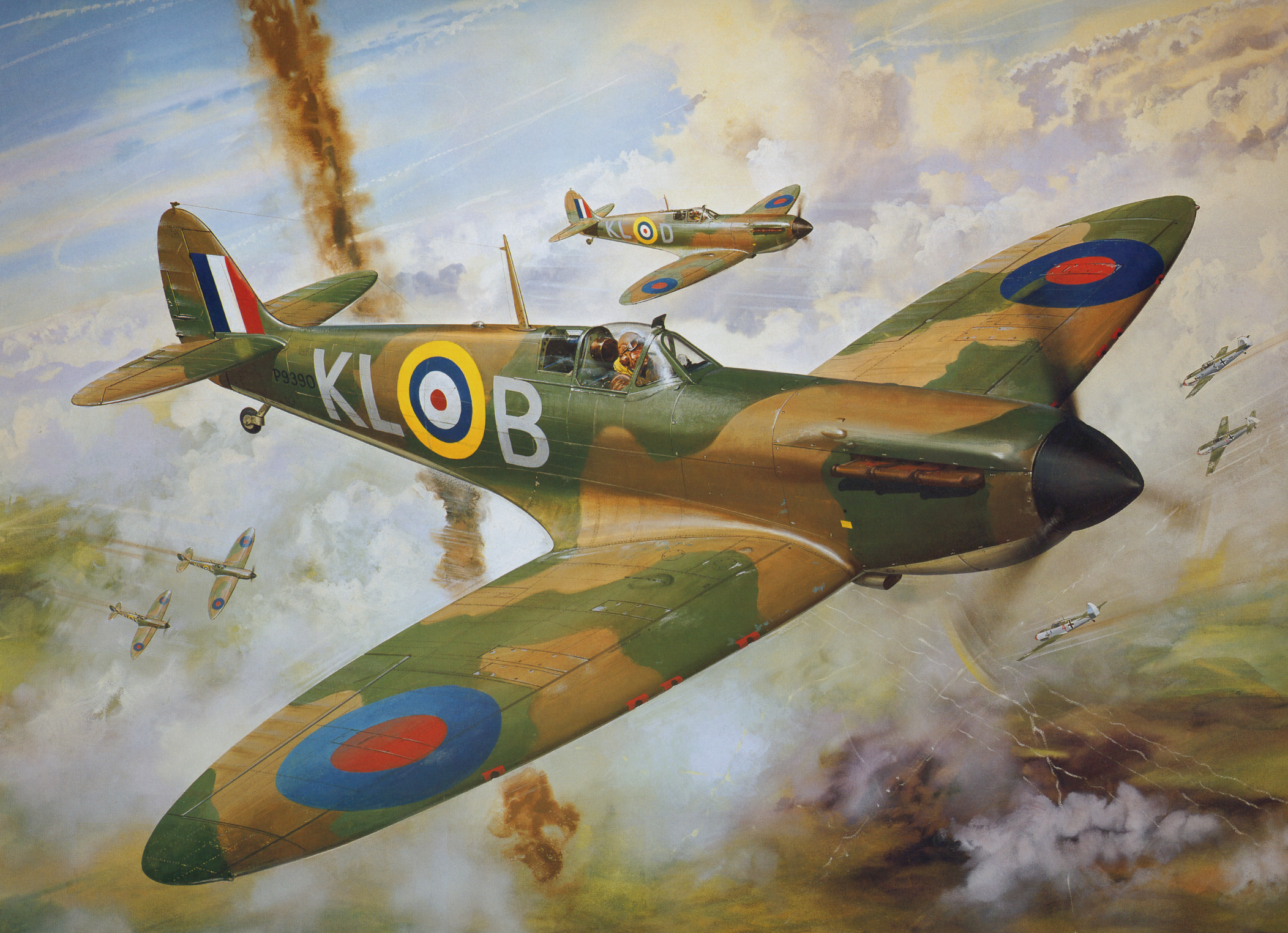 Painting by Roy Cross Spitfire MkI RAF 54Sqn PO Al Deere for Airfax Superkit 0B