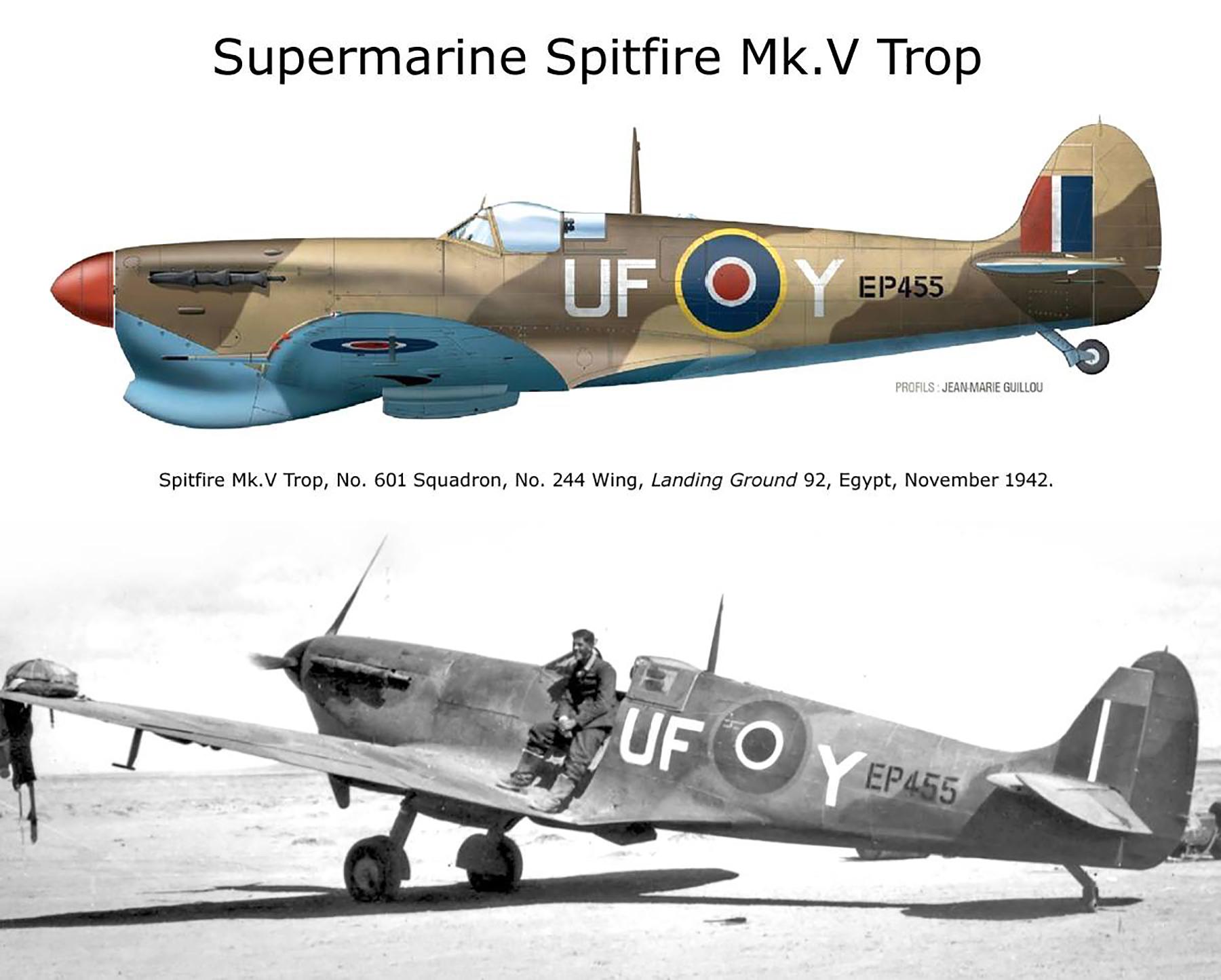 Spitfire MkVcTrop RAF 601Sqn UFY EP455 LG92 Egypt Nov 1942 01