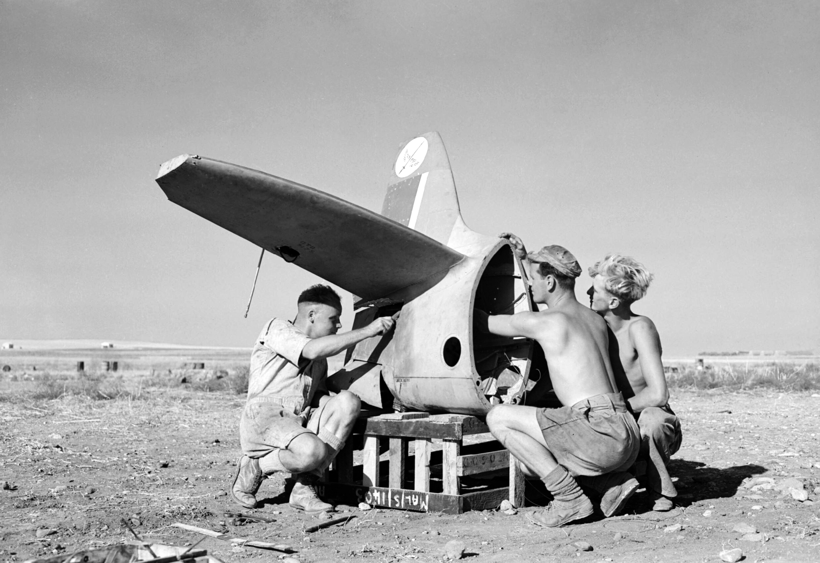 Spitfire tail section from RAF 601Sqn at Lentini West Sicily 1943 IWM CNA1329