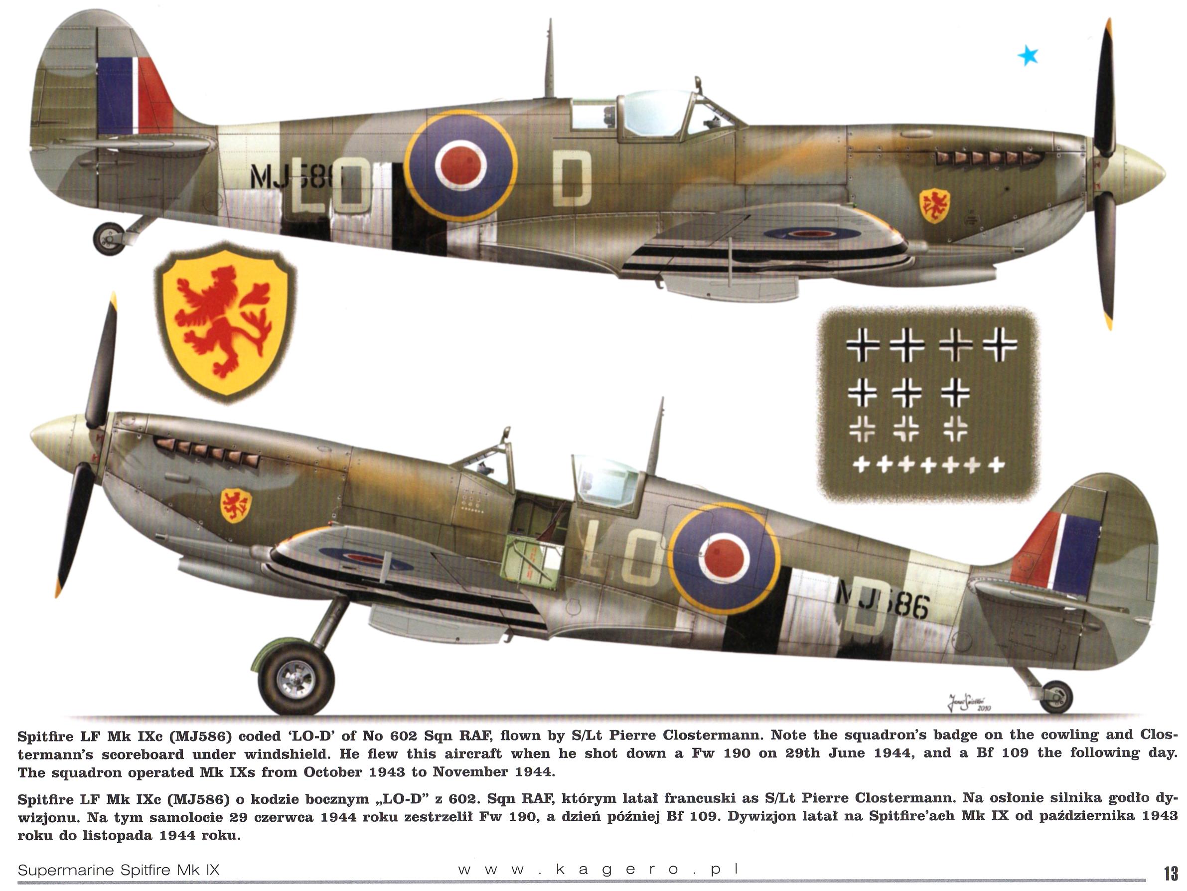 Spitfire LFIX RAF 602Sqn LOD Pierre Clostermann MJ586 TC15015 Supermarine Spitfire MkIX Page 13