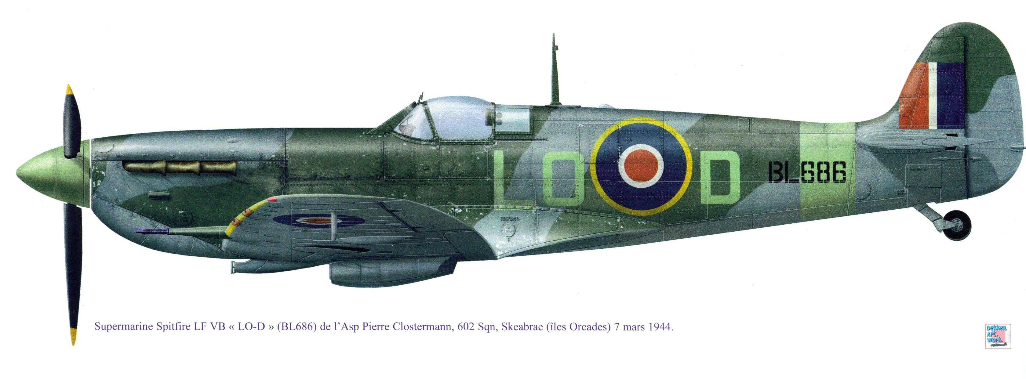 Spitfire LFVB RAF 602Sqn LOD Pierre Clostermann BL686 Skeabrae 7th Mar 1944 0A 2