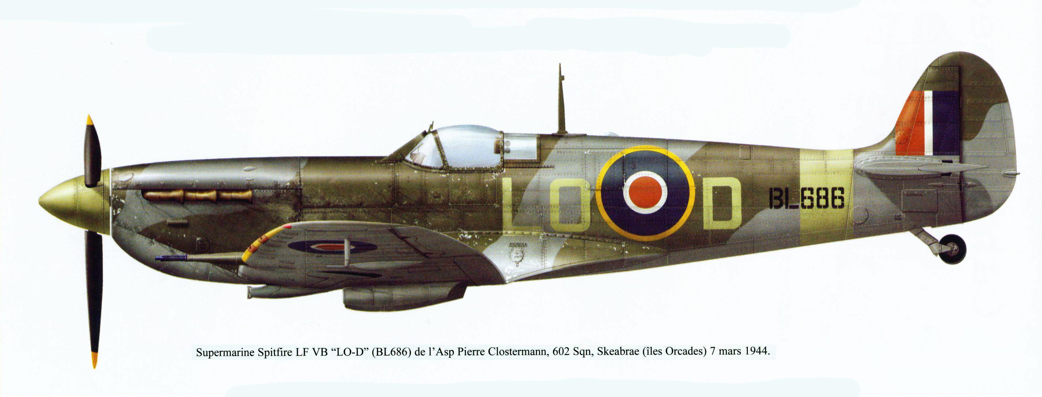 Spitfire LFVB RAF 602Sqn LOD Pierre Clostermann BL686 Skeabrae 7th Mar 1944 0A