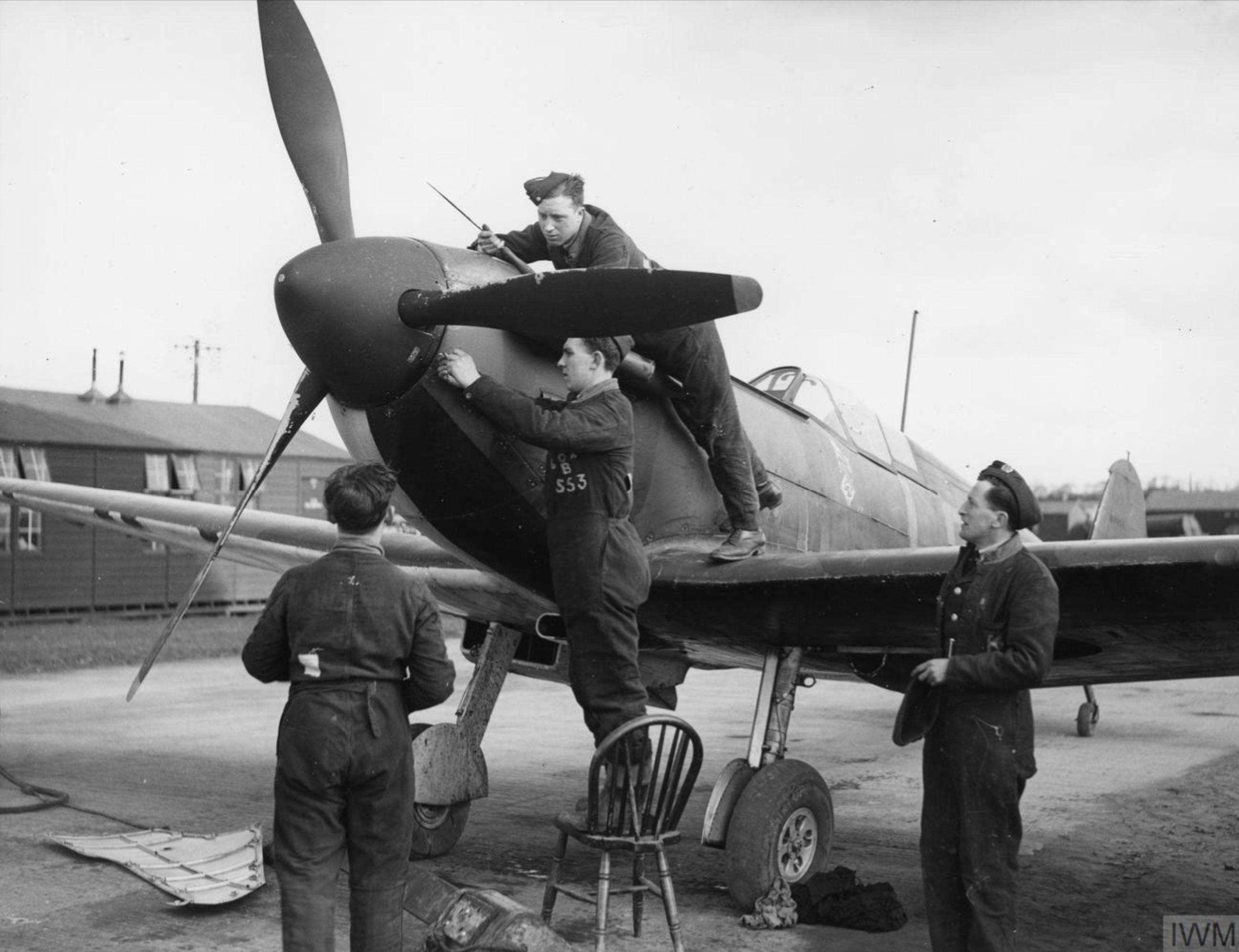 Spitfire MkI RAF 602Sqn at Drem Scotland Mar 1940 IWM HU106303