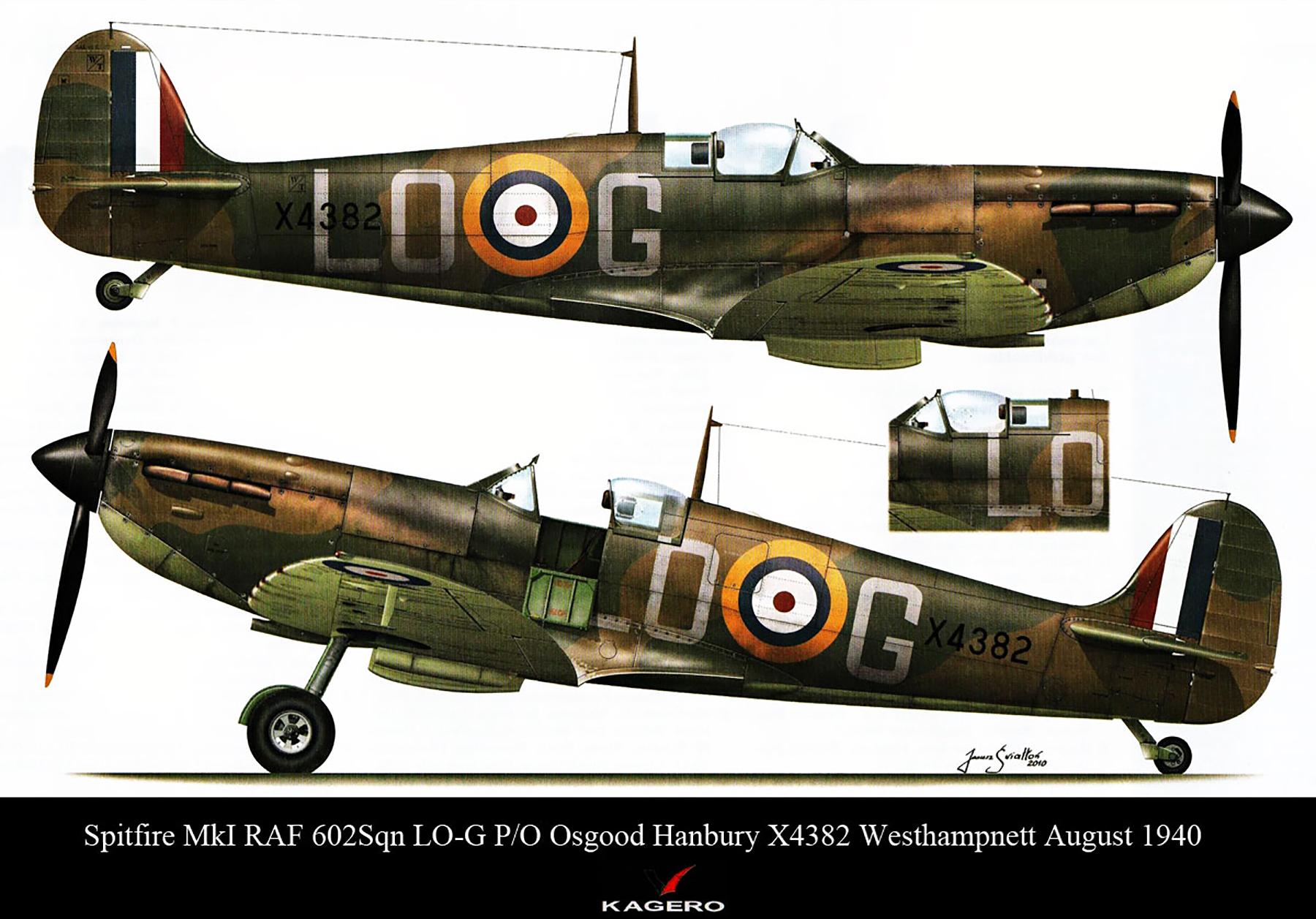 Spitfire MkIa RAF 602Sqn LOG Osgood Hanbury X4382 Westhampnett Aug 1940 0A