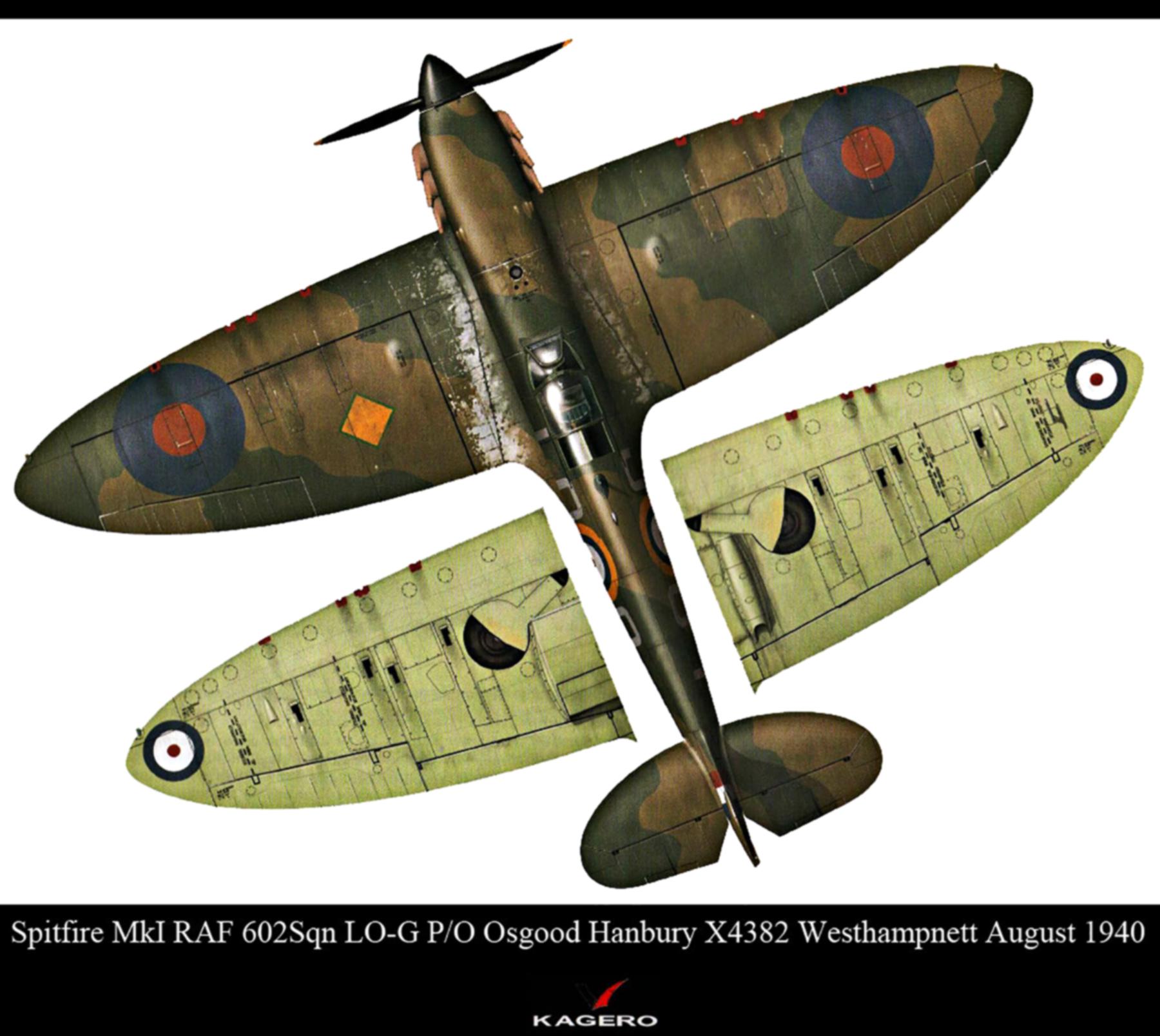 Spitfire MkIa RAF 602Sqn LOG Osgood Hanbury X4382 Westhampnett Aug 1940 0B