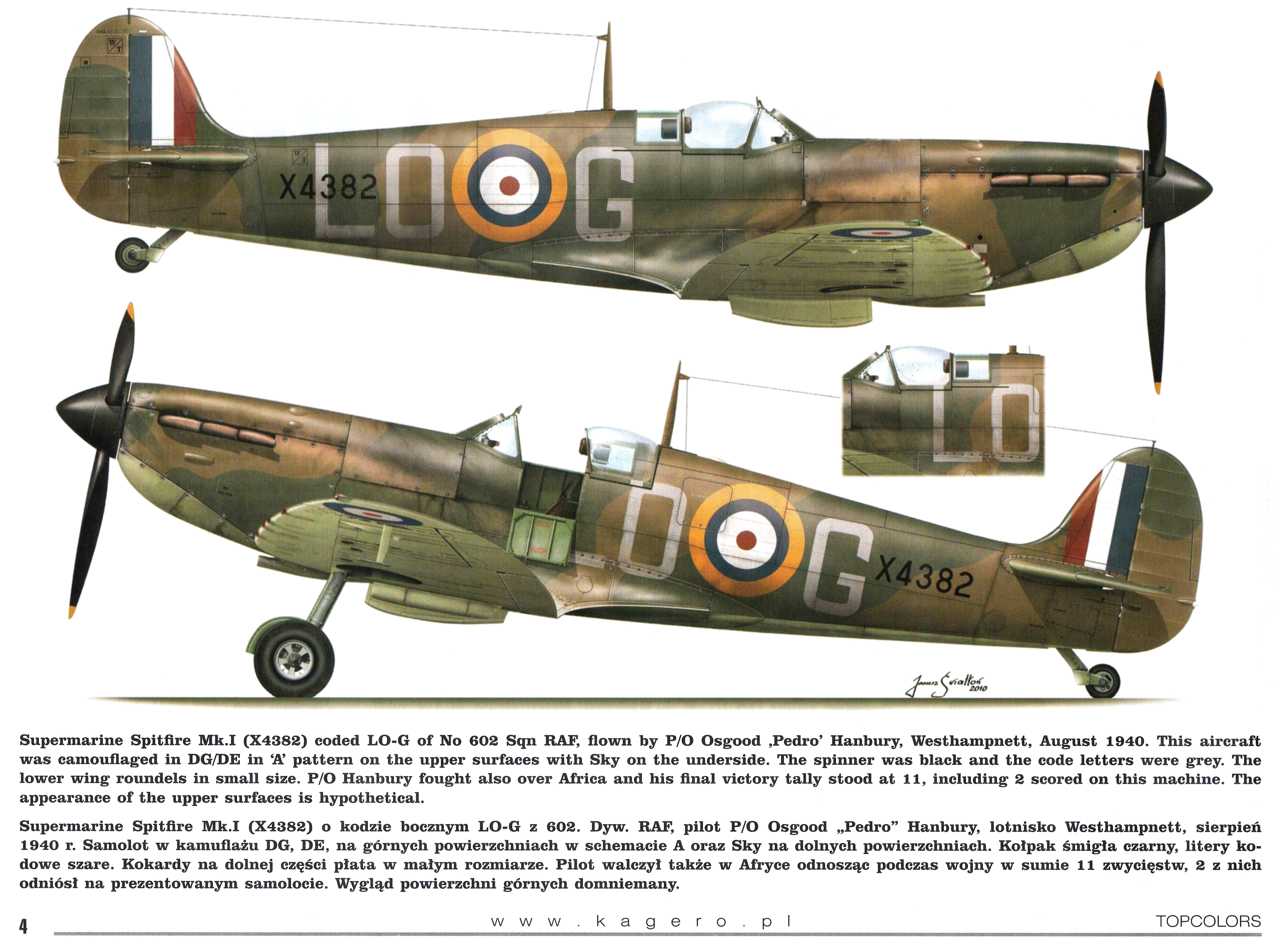 Spitfire MkIa RAF 602Sqn LOG Osgood Hanbury X4382 Westhampnett Aug 1940 TC15016 01