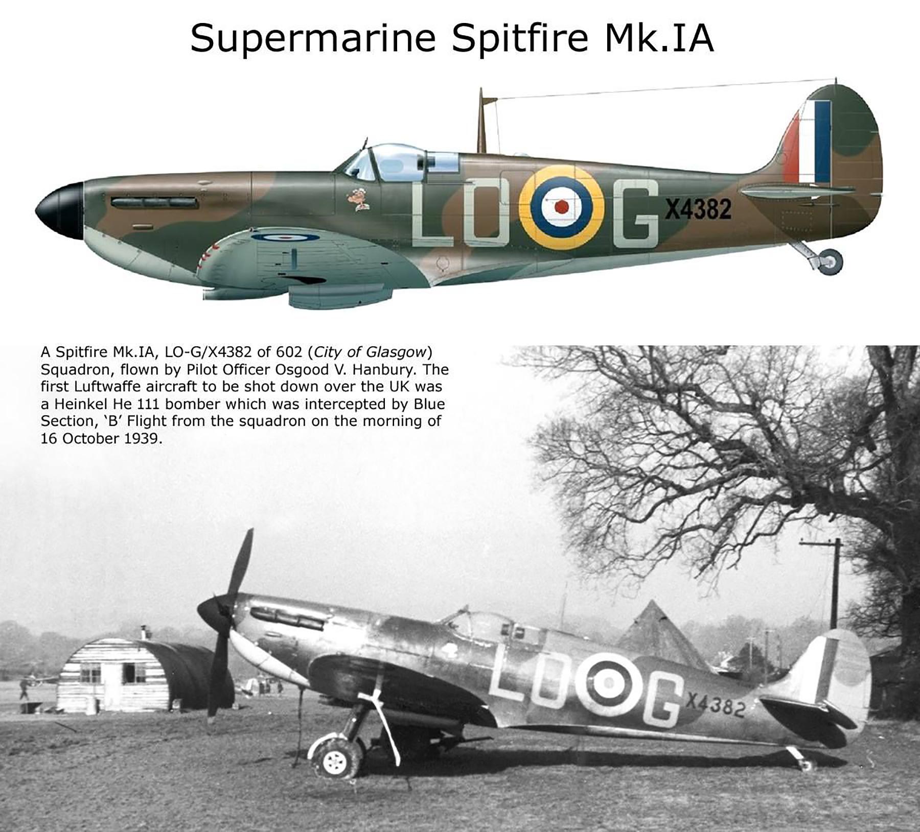 Spitfire MkIa RAF 602Sqn LOG Osgood Hanbury X4382 Westhampnett Sep 1940 02