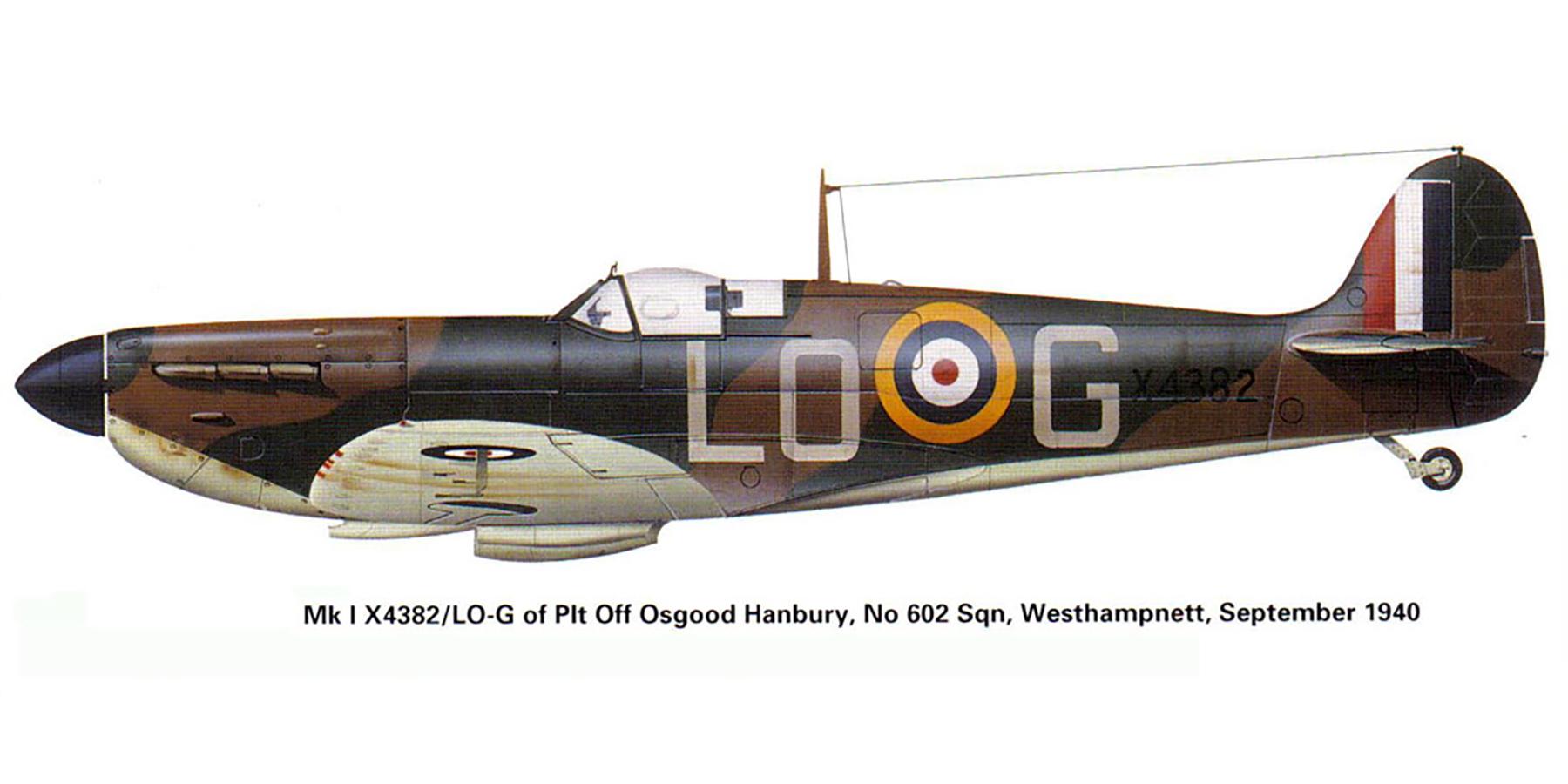 Spitfire MkIa RAF 602Sqn LOG Osgood Hanbury X4382 Westhampnett Sep 1940 0A