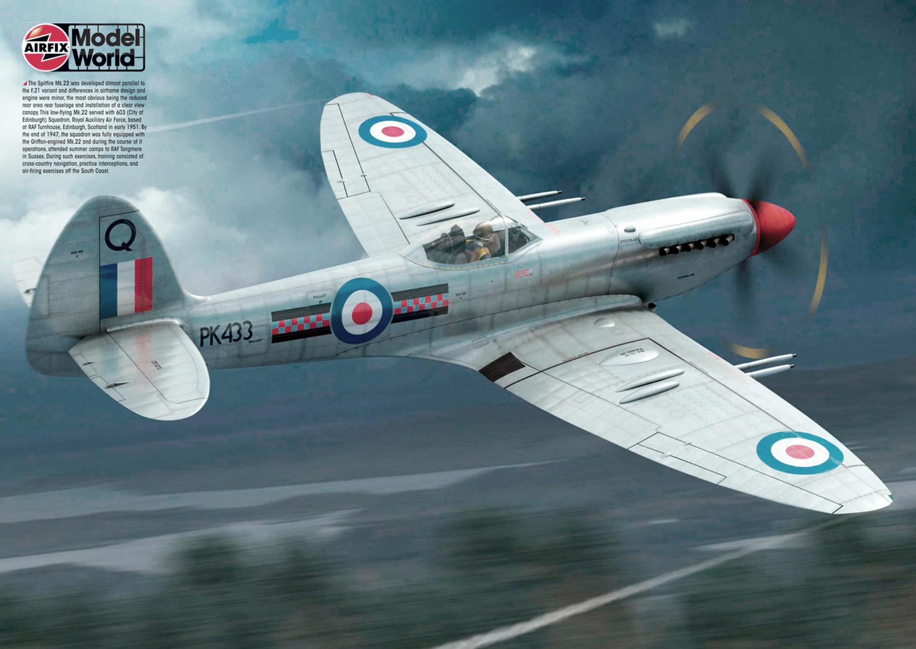 Spitfire Mk22 RAuxAF 603Sqn RAF Q PK433 Turnhouse Edinburgh Scotland 1951 by Airfix 0A