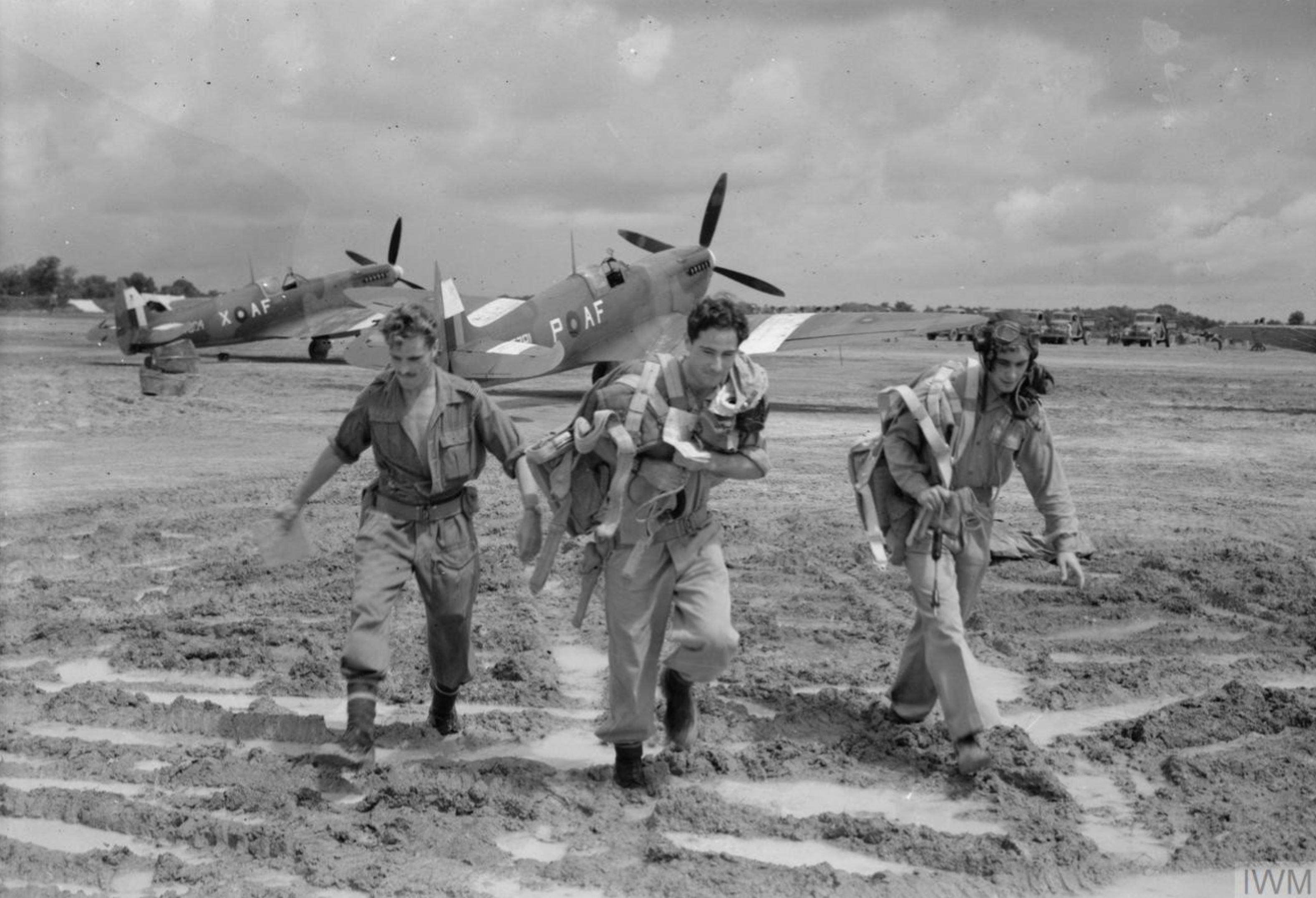 Spitfire MkVIII RAF 607Sqn AFP and AFX at Mingaladon May 1944 IWM CI1458