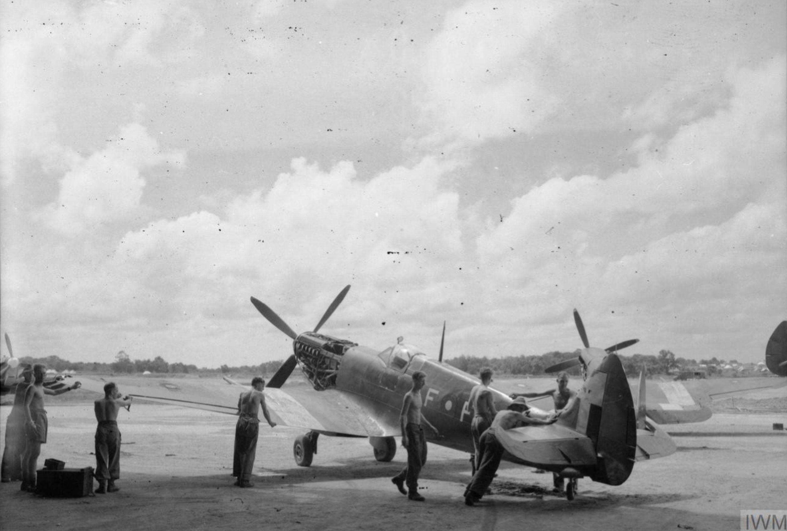 Spitfire MkVIII RAF 607Sqn AFP at Mingaladon Burma IWM CI1567